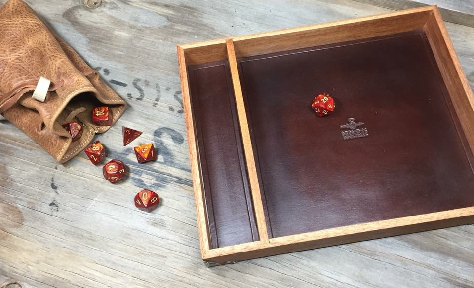 A custom Dice Tray and Dice Bag for gaming customer.