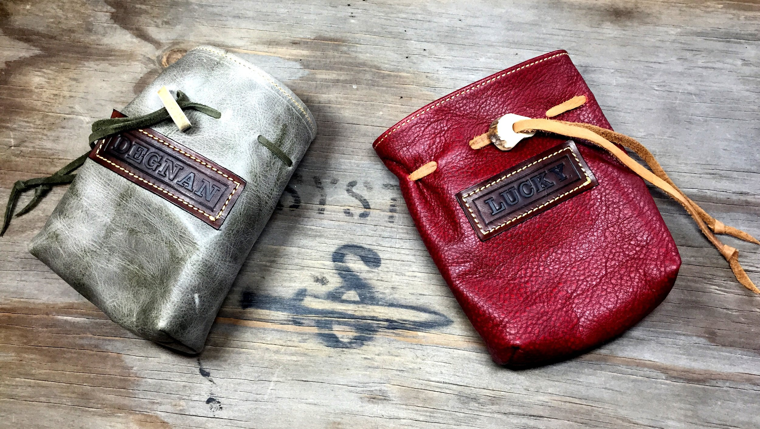A pair of dicebags for One Stop Co-Op shop.
