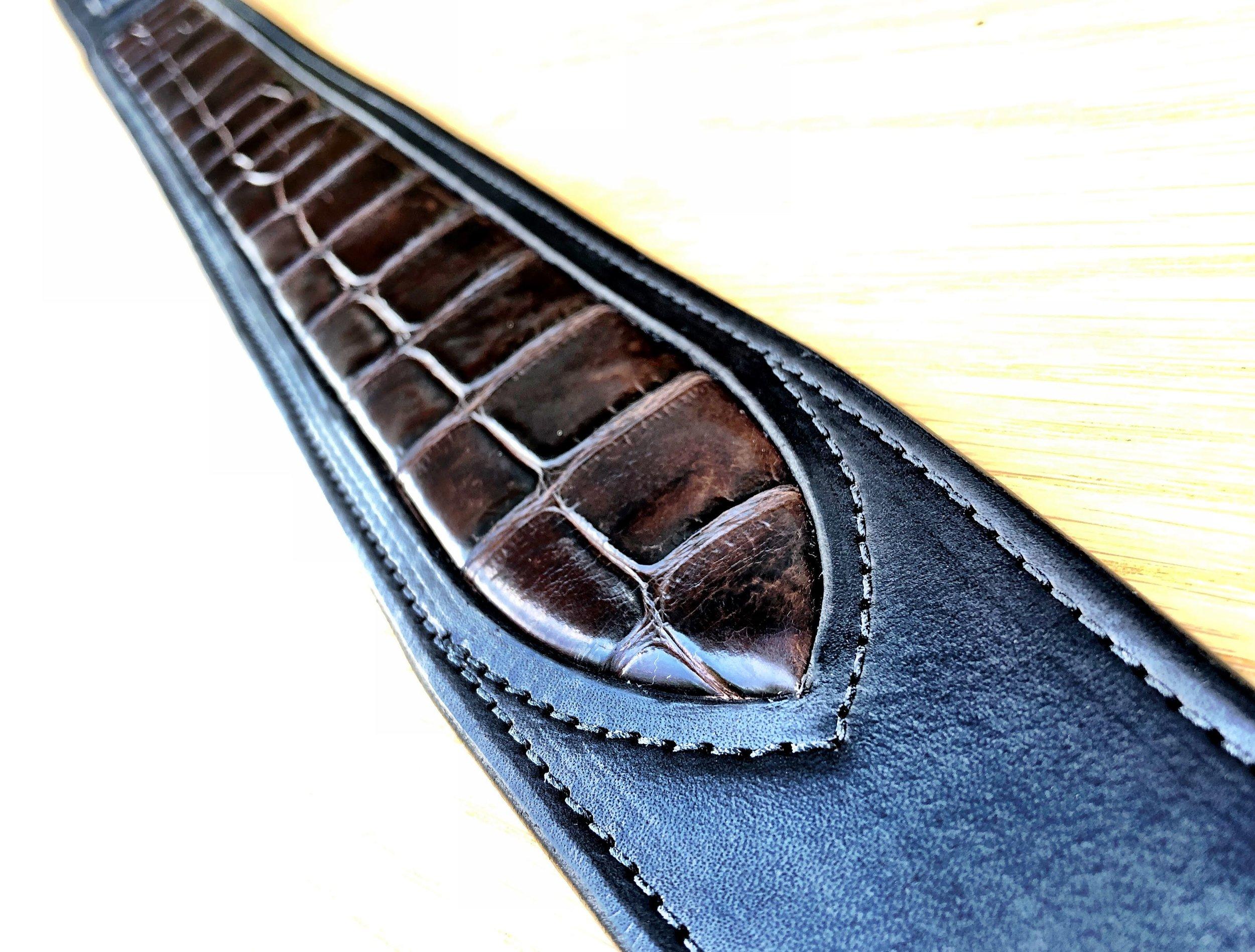 Alligator Inlaid Guitar Strap.