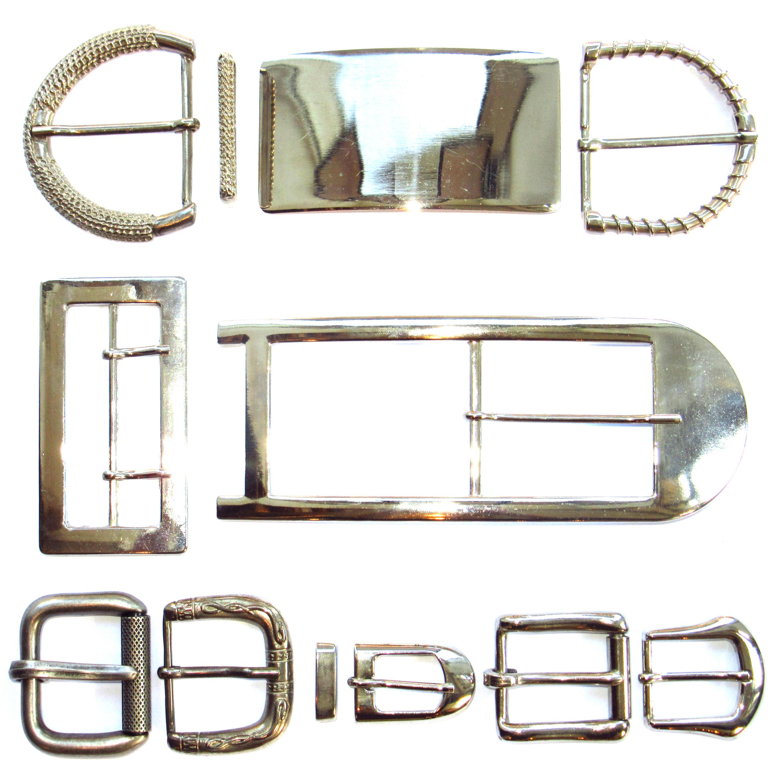 Boucles de ceinture en métal argenté