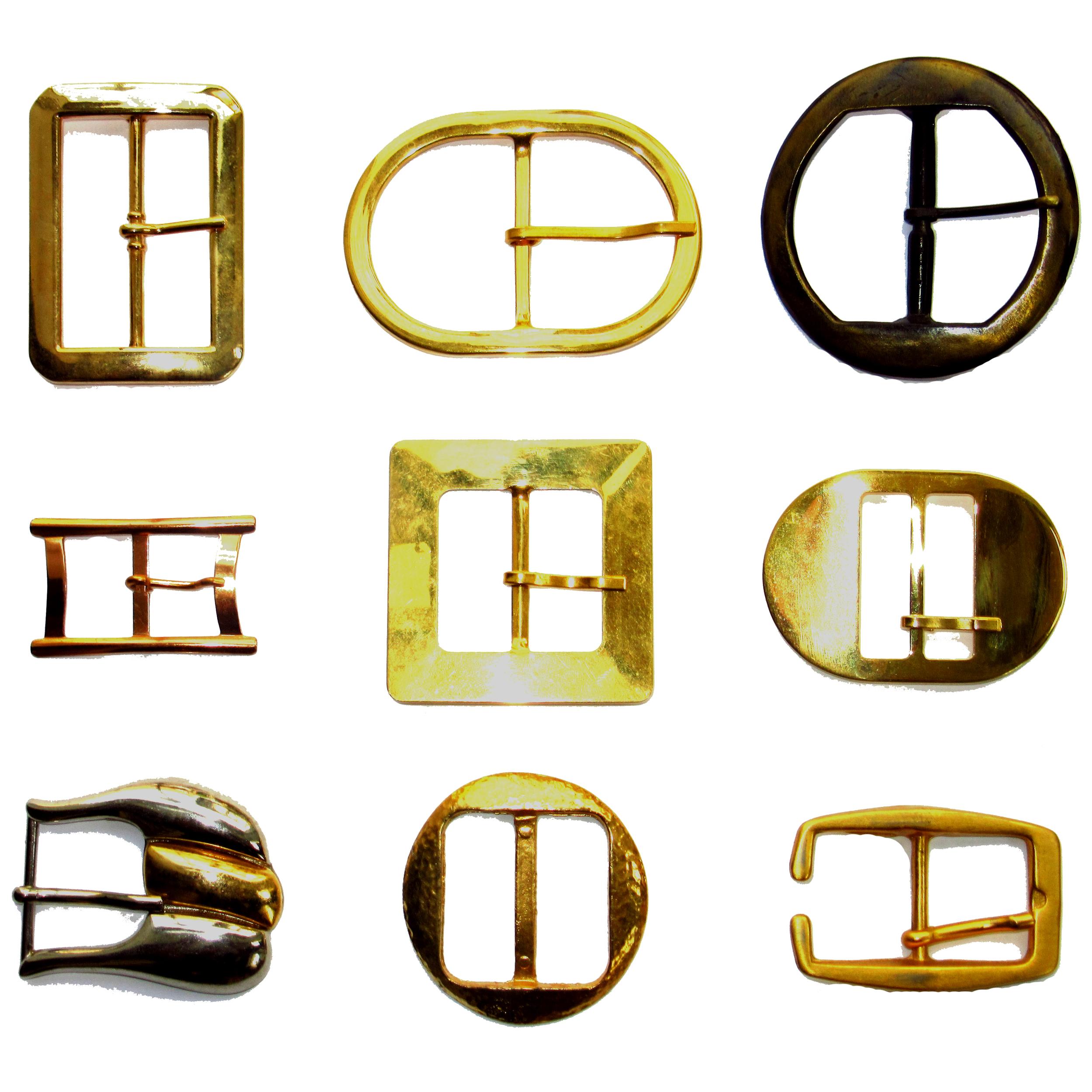 Gold metal belt buckles