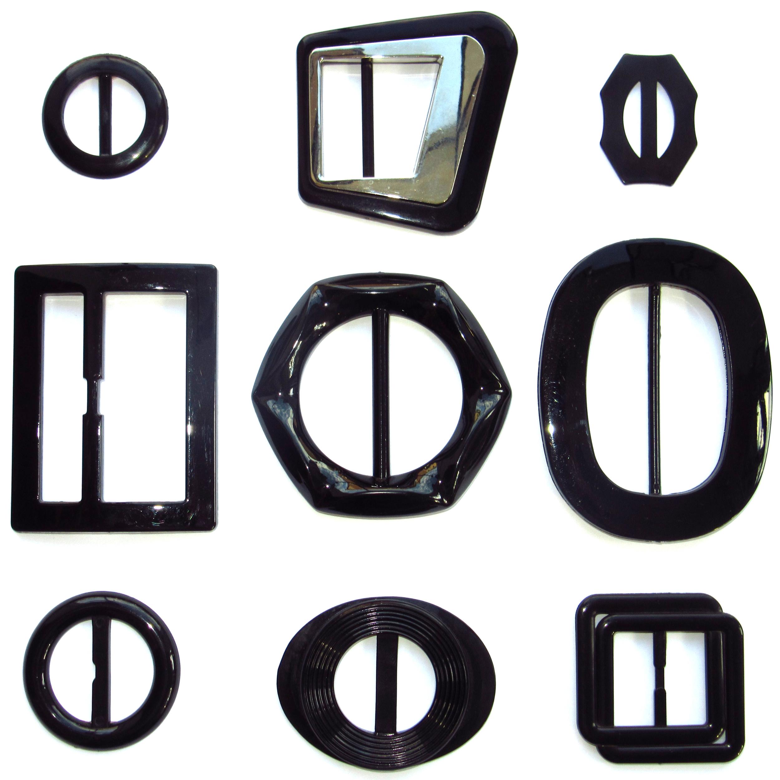 Black plastic belt buckles