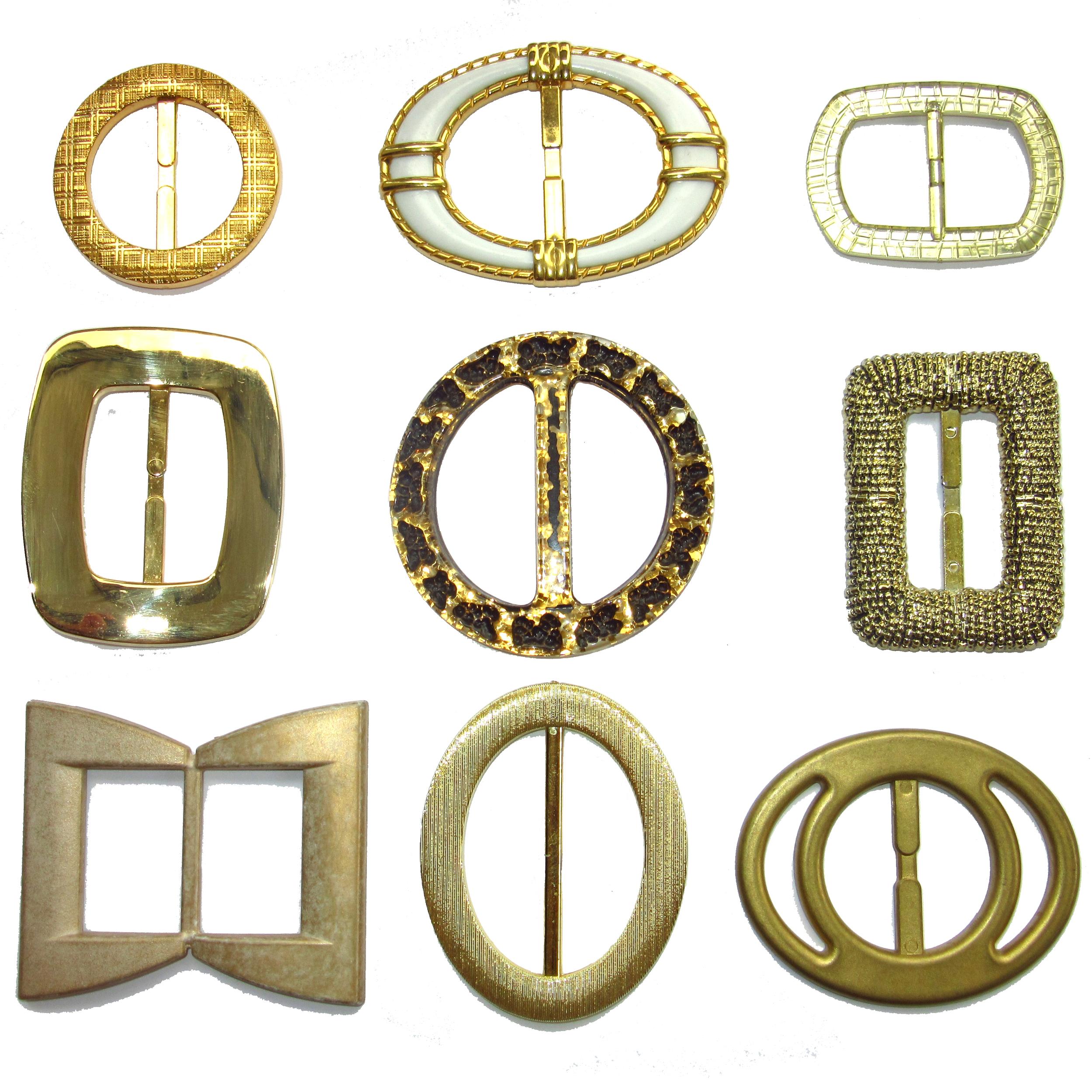 Gold plastic belt buckles