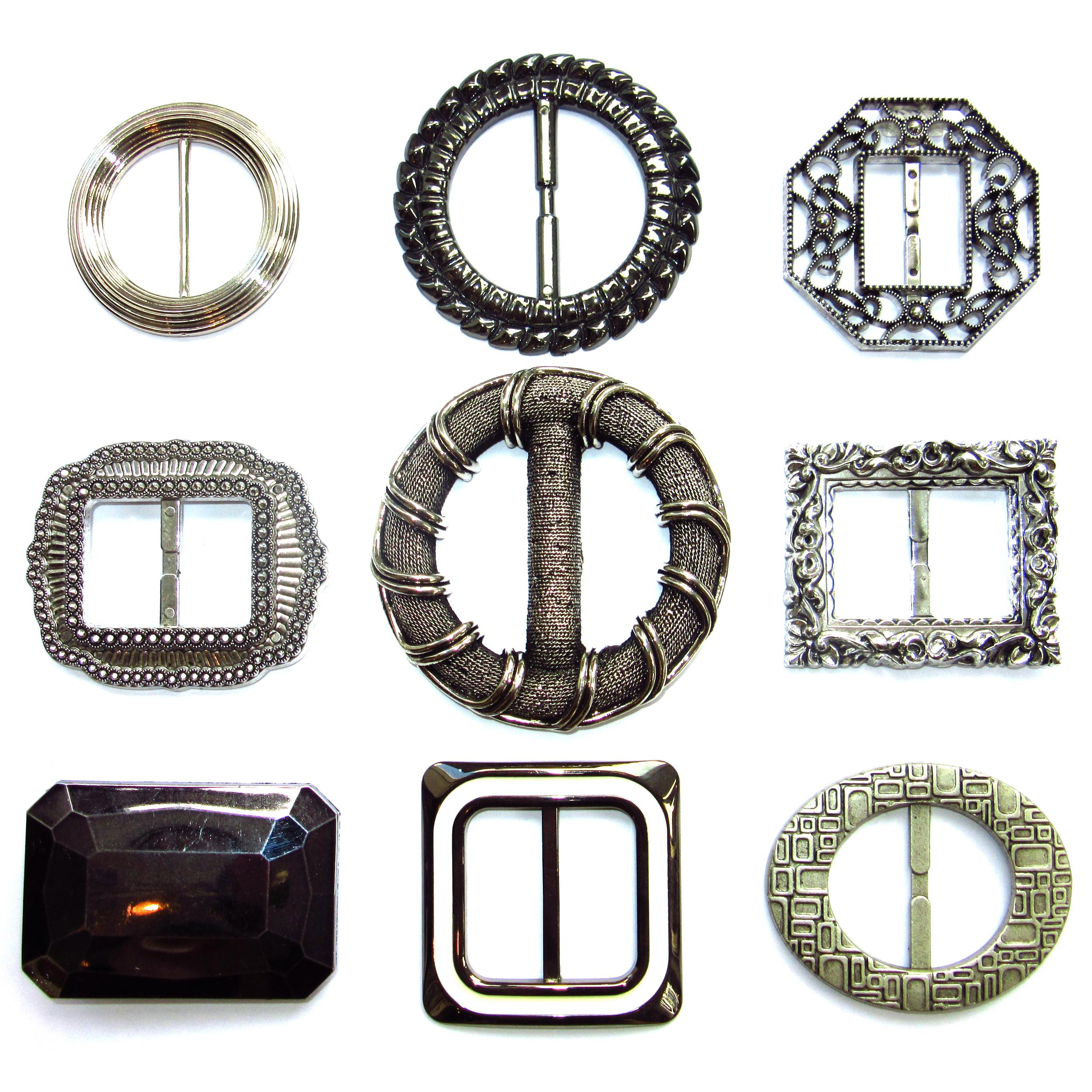 Silver plastic belt buckles