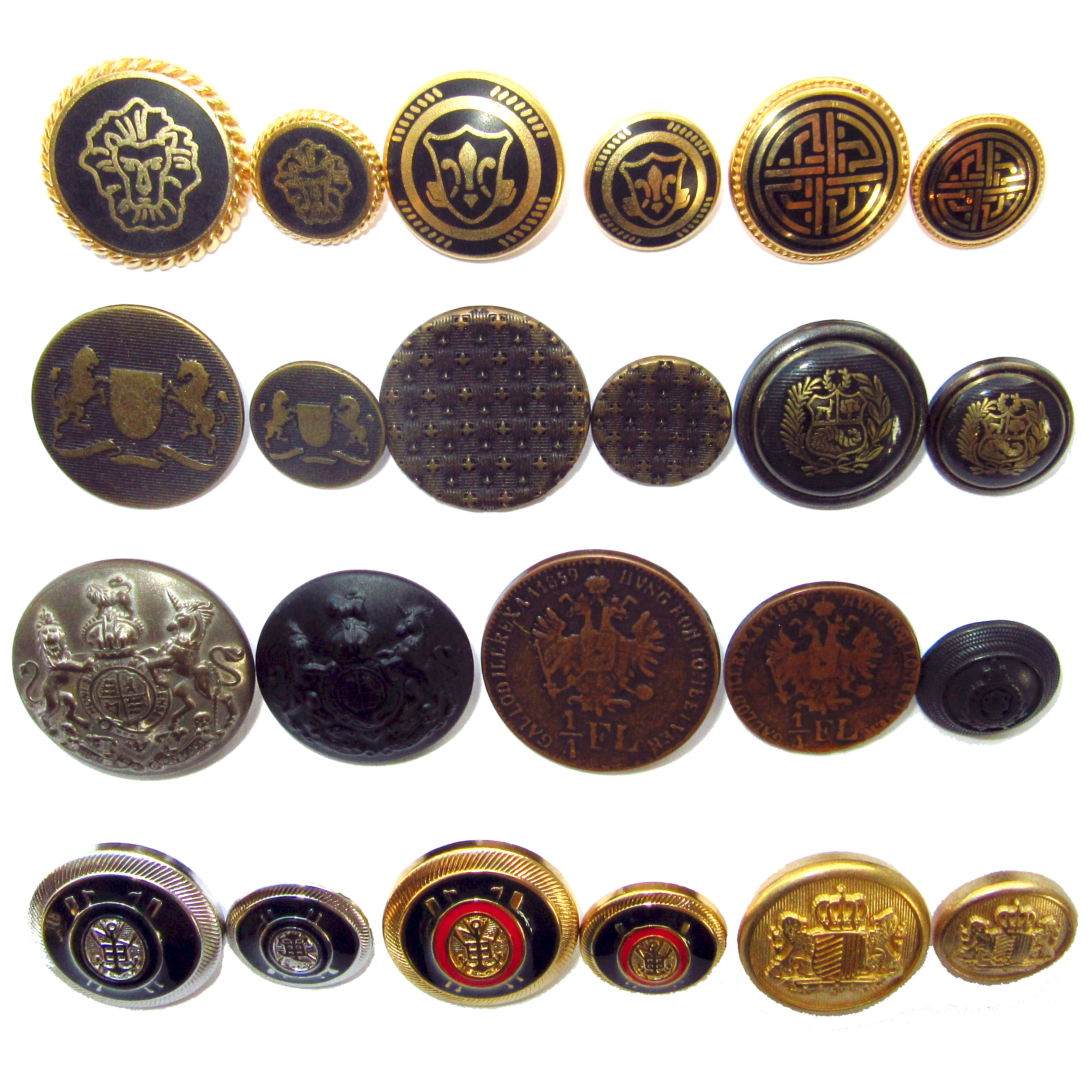 Military style metal buttons
