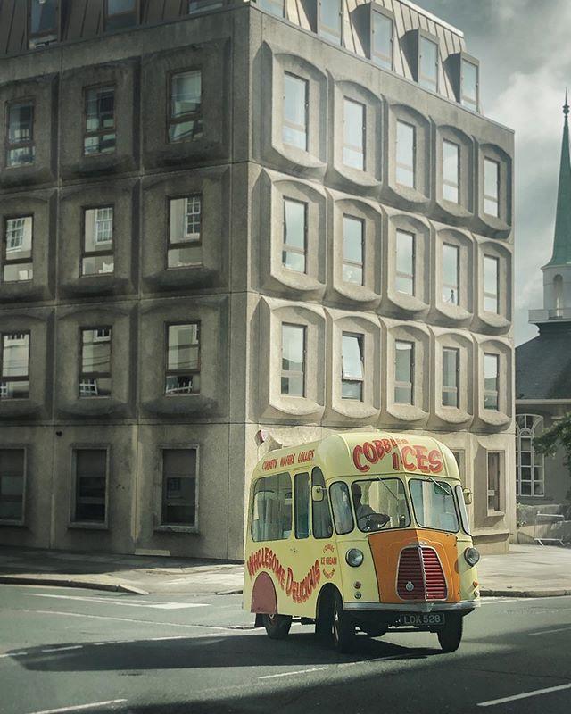 Ice cream makes anything better . . . #retro #van #vanlife #retrovan #contrasts #brutalism #60s #shadows  #naturallight #streetphotography #iphoneonly #icecream #icecreamman #devon #plymouth #devoncream #cobblesices #morning #motivation #snapseed #visitdevon
