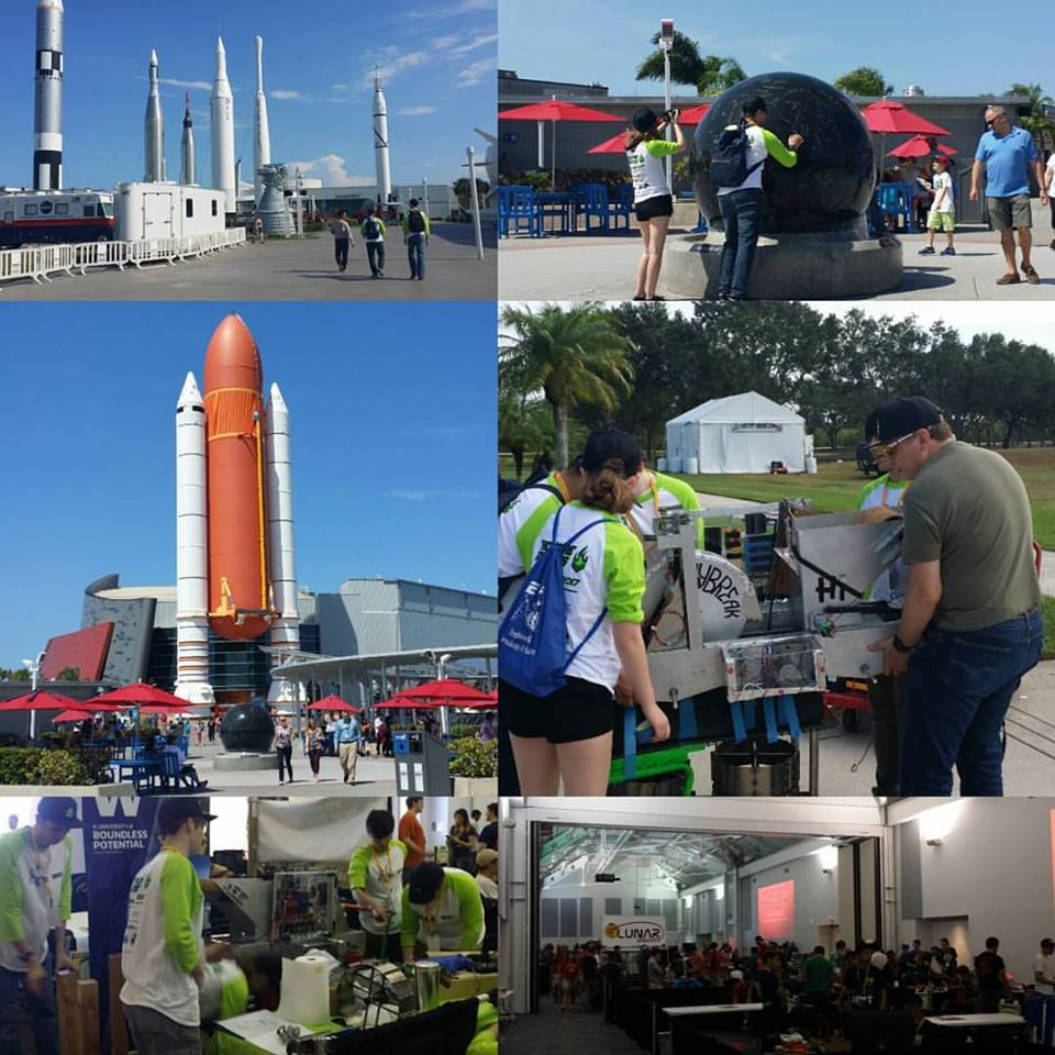 """""""Day one of the NASA RMC, full of sunshine, rockets and our mining robot Daybreak!"""""""