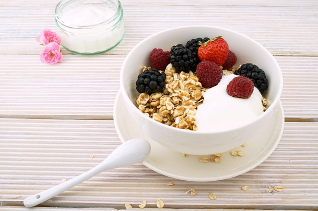 Greek yogurt and granola are a filling and tasting pairing. Add some berries and you are in for a treat!