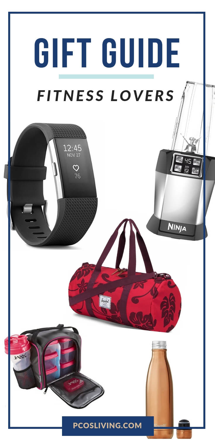 The best gifts for fitness lovers // Gift guide for fitness buffs // Fitness gift guide // Fitness gift ideas // Gift ideas for health and fitness fanatics // Fit girl gift ideas // Fitness gifts for men |  PCOSLiving.com  #giftguide #fitnessgifts
