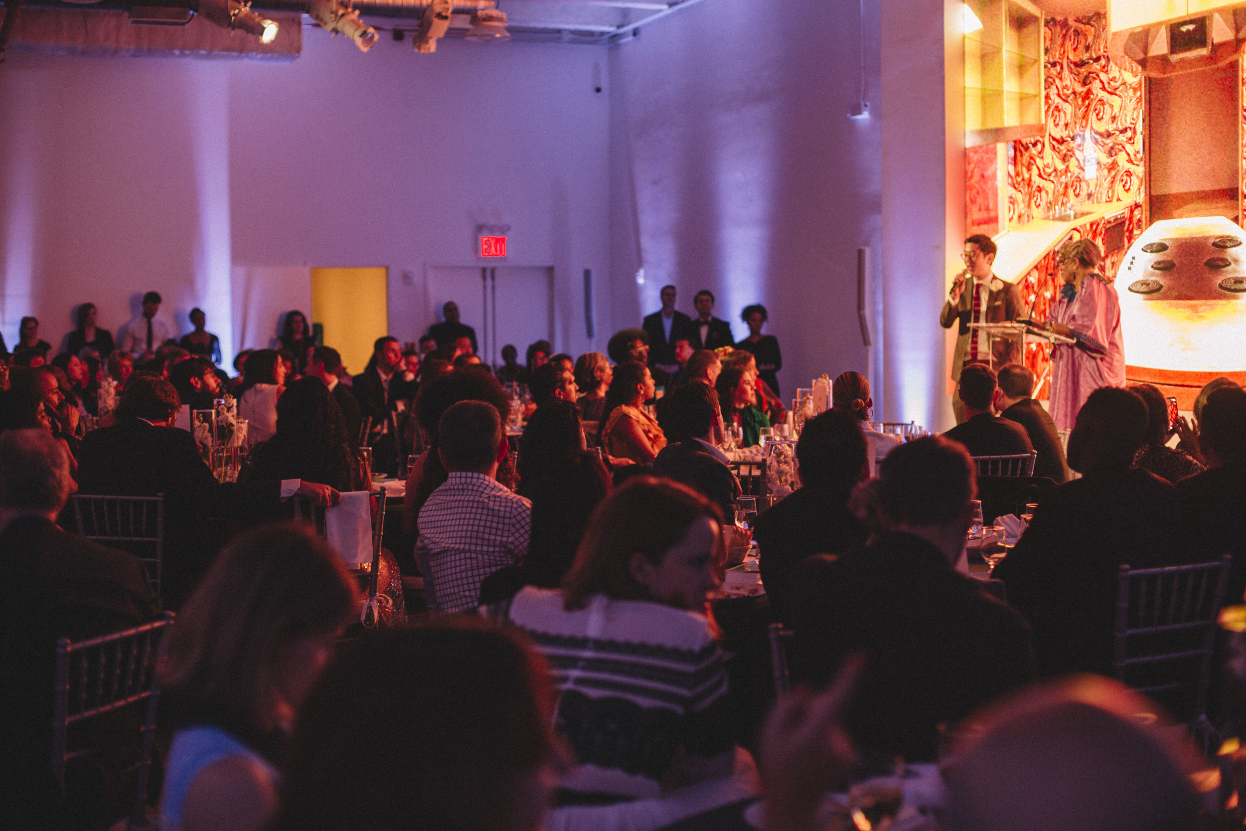 Executive Director Peter J. Kim and African/American Lead Curator Dr. Jessica B. Harris announce the news of MOFAD's possession of the  Ebony  Test Kitchen at the MOFAD Spring Gala Honoring Questlove on May 15, 2019. Photo credit: Noemie Marguerite.