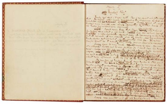 Manuscript of  A Christmas Carol by Charles Dickens, 1843, at The Morgan Library & Museum, New York, New York. This page shows Stave I. Marley's Ghost. Page 1.