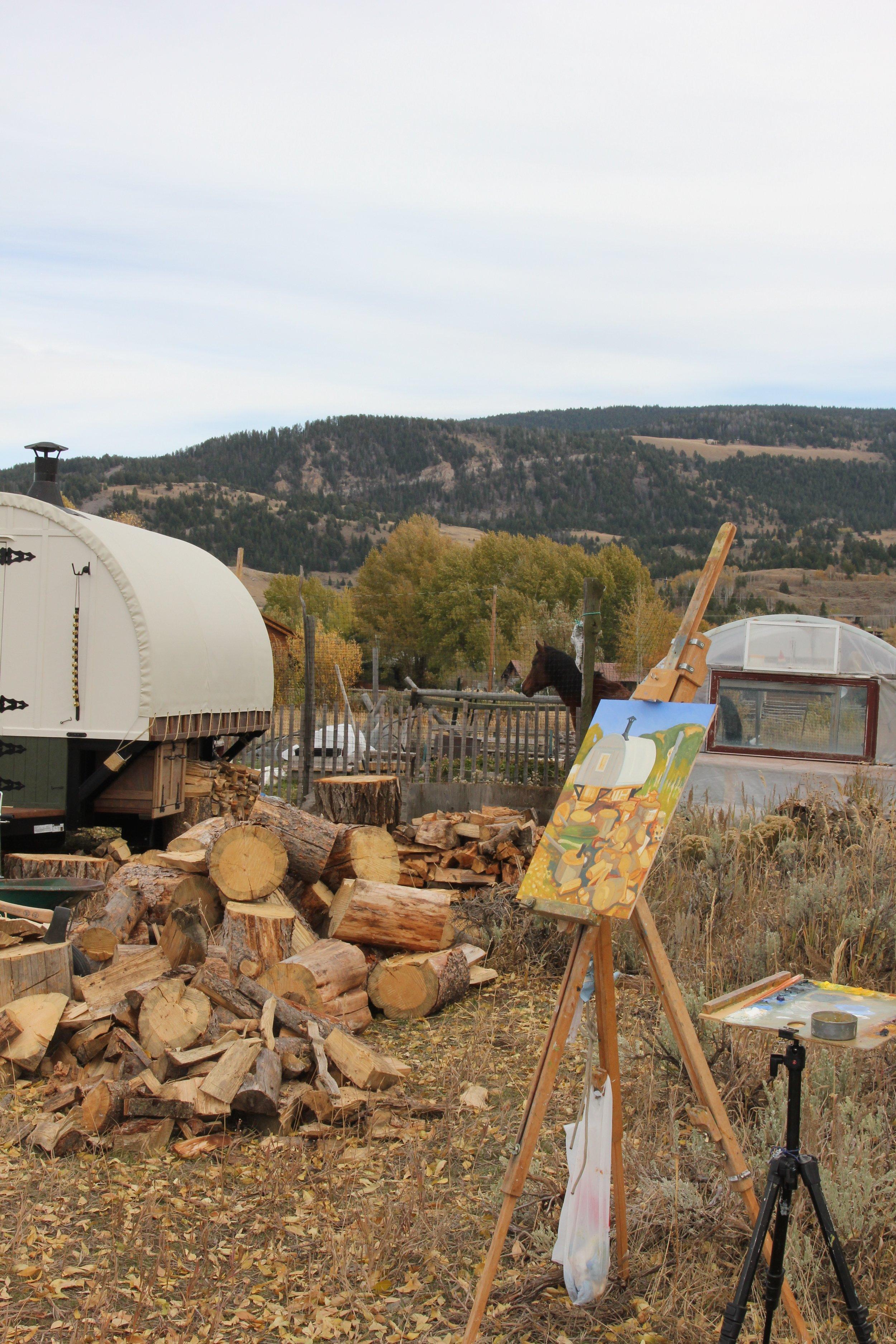 In-progress by Wendell Field outside the Sheep Wagon.