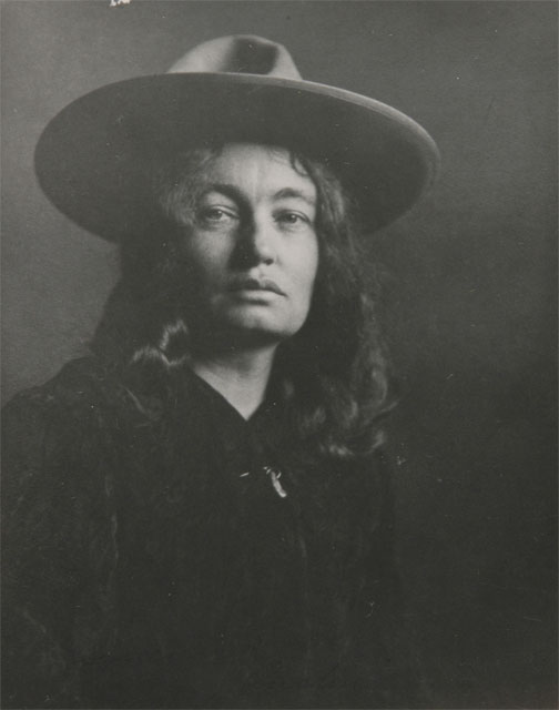 Portrait of Mary Austin by Charles Lummis, circs 1900. Gelatin silver print, 4 1/2 in x 3 3/4 in. from the collection of the Autry Museum of the American West.