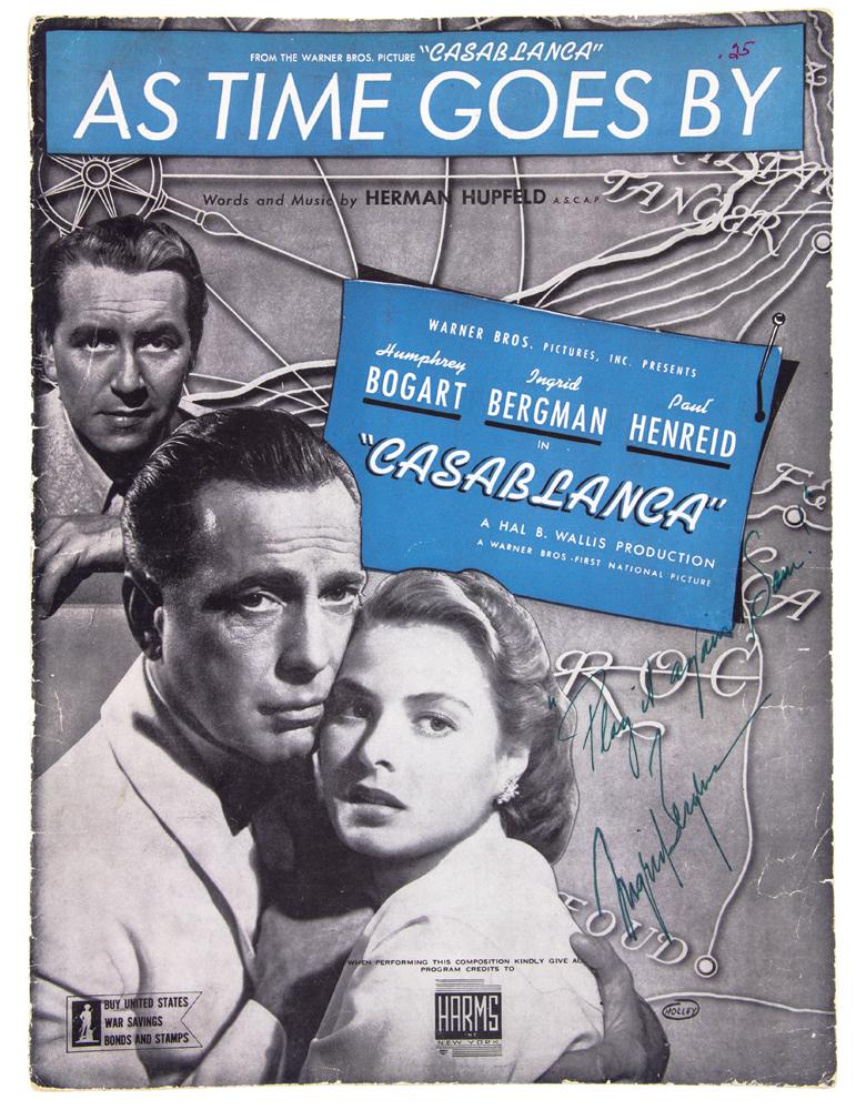 "1943 sheet music signed by Ingrid Bergman, ""Play it again, Sam,"" 1975."