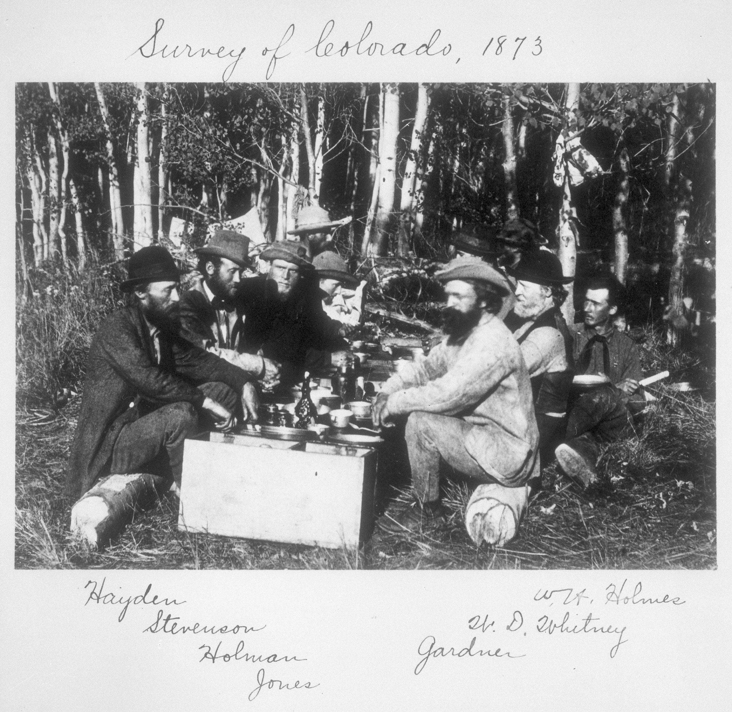 Group from Survey at Camp, 1873, Collection of the Smithsonian Institute Archives.