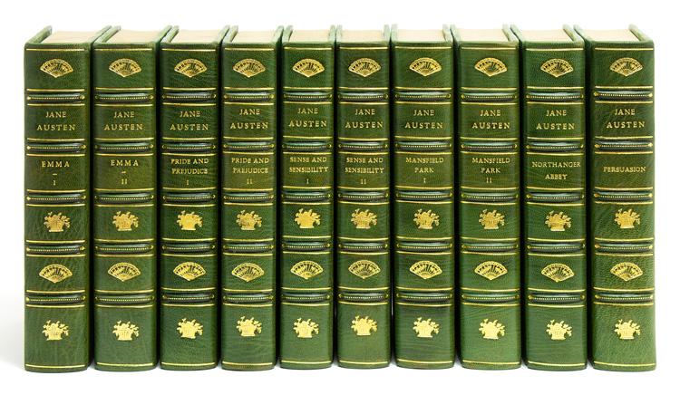 1917 Complete Jane Austen set in three quarters green morocco
