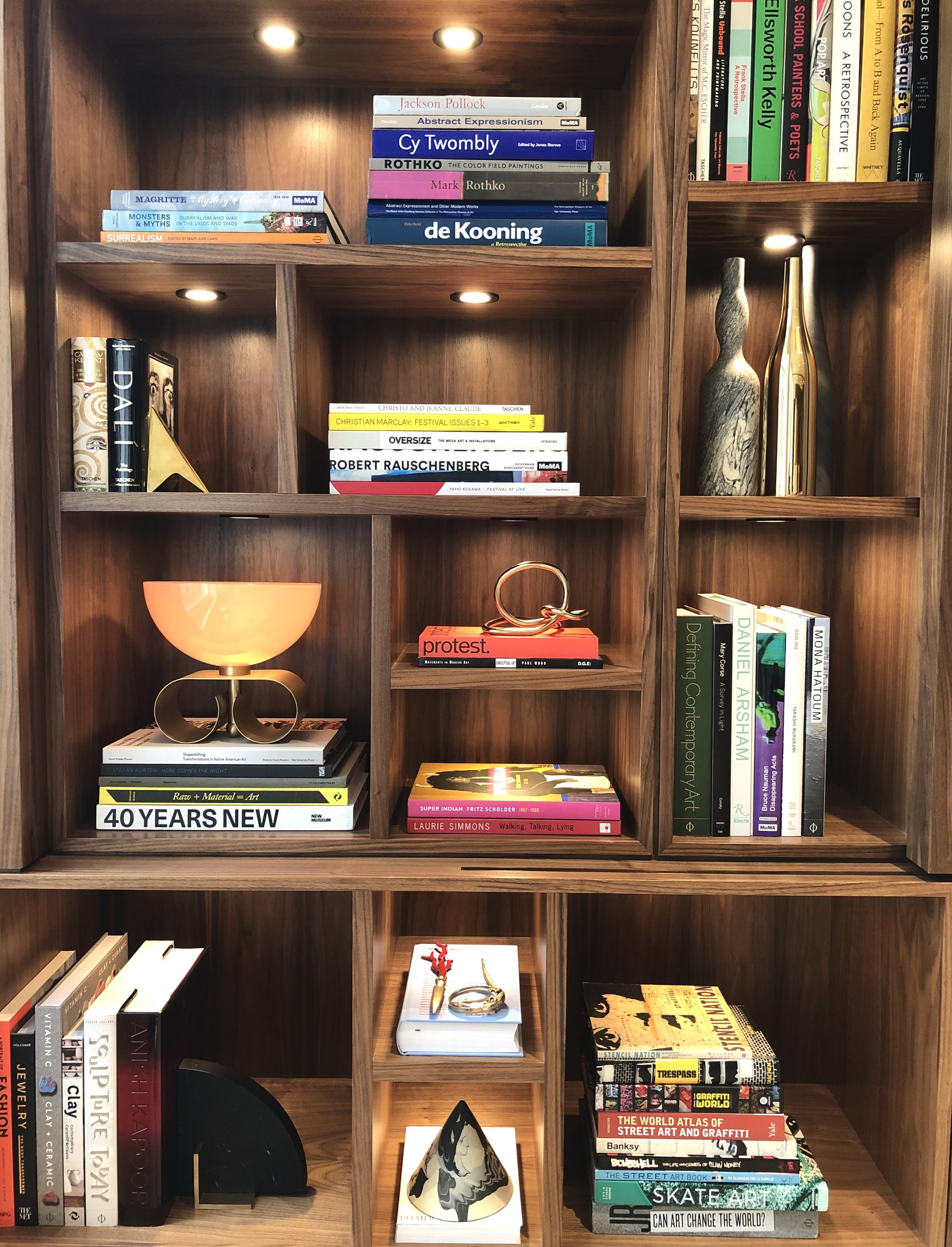 Curated Modern Art and Design Library with art objects selected by Foxtail Books. Home library in TriBeCa, New York City.