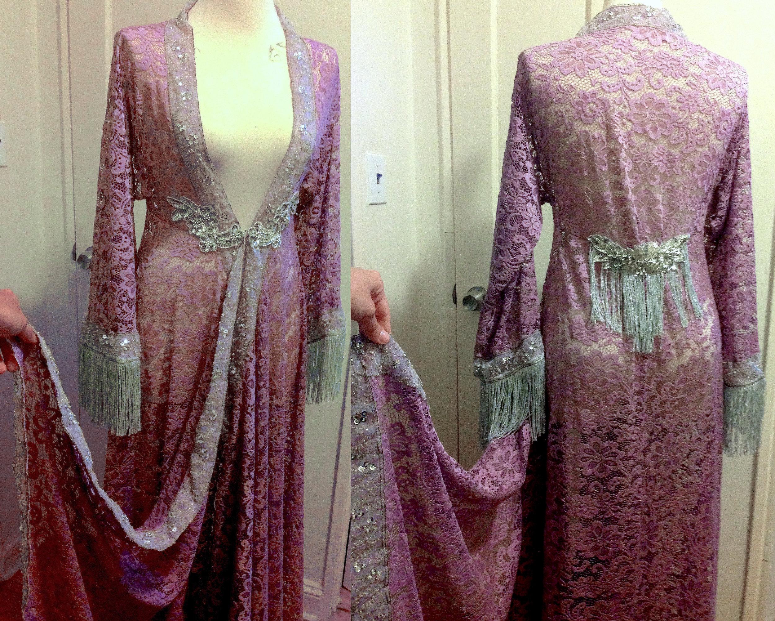 Custom lace fringed robe