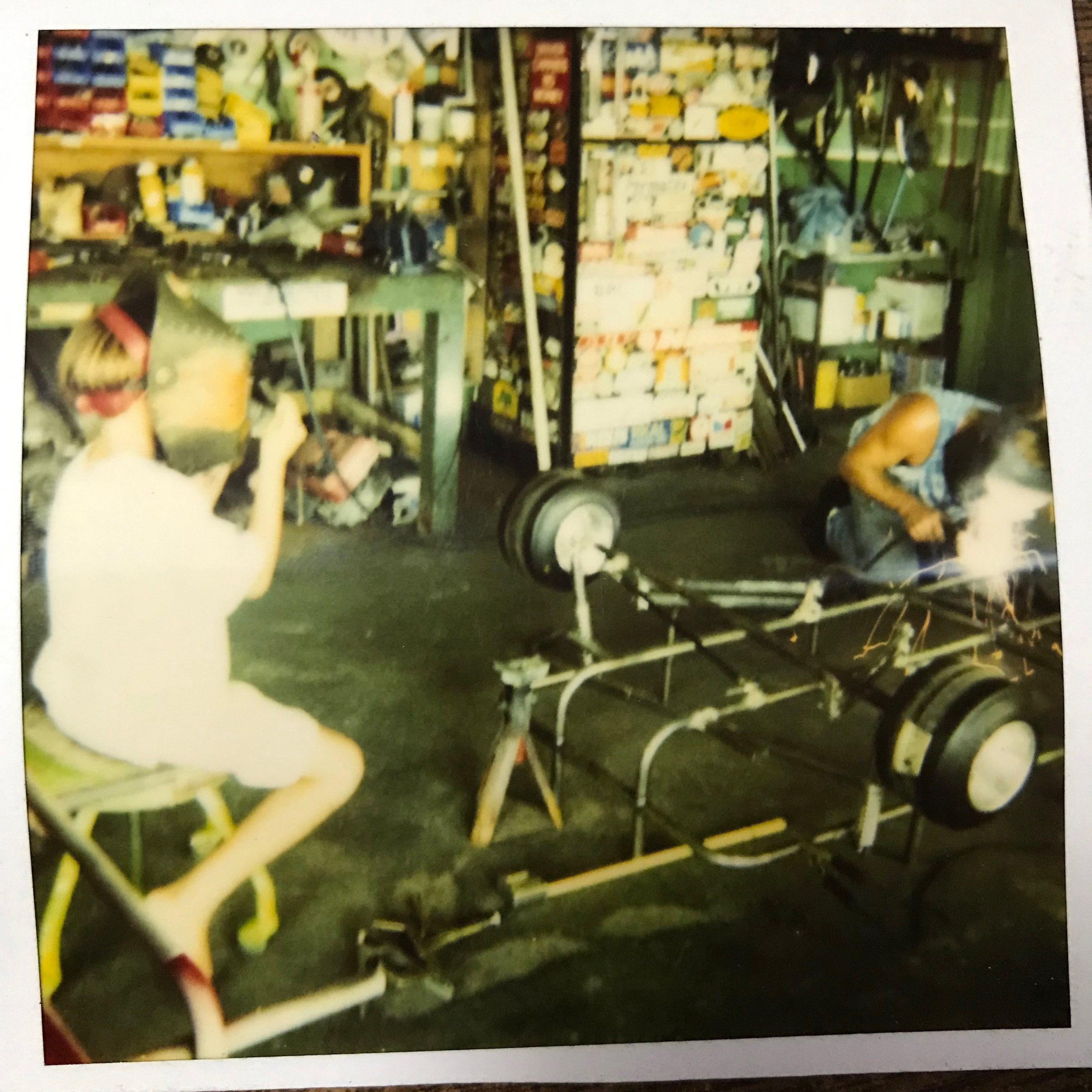 Shawn and his bro building a minitrailer for owner of Lghtning Magazine in Japan to pull behind his moped