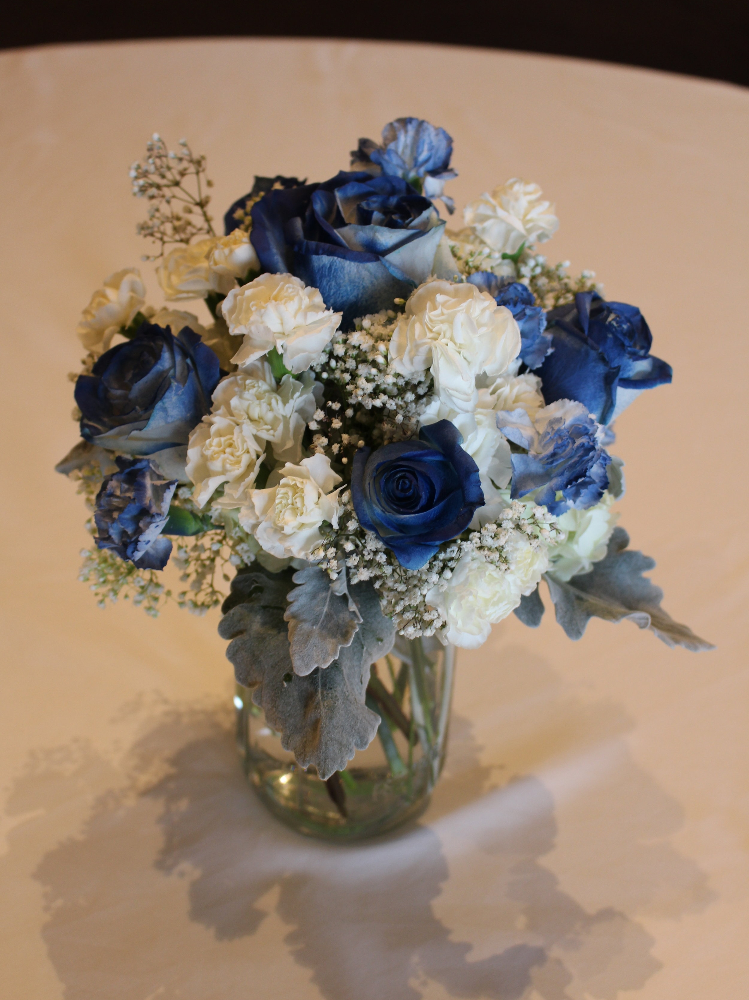 Navy Blue and Silver Centerpiece