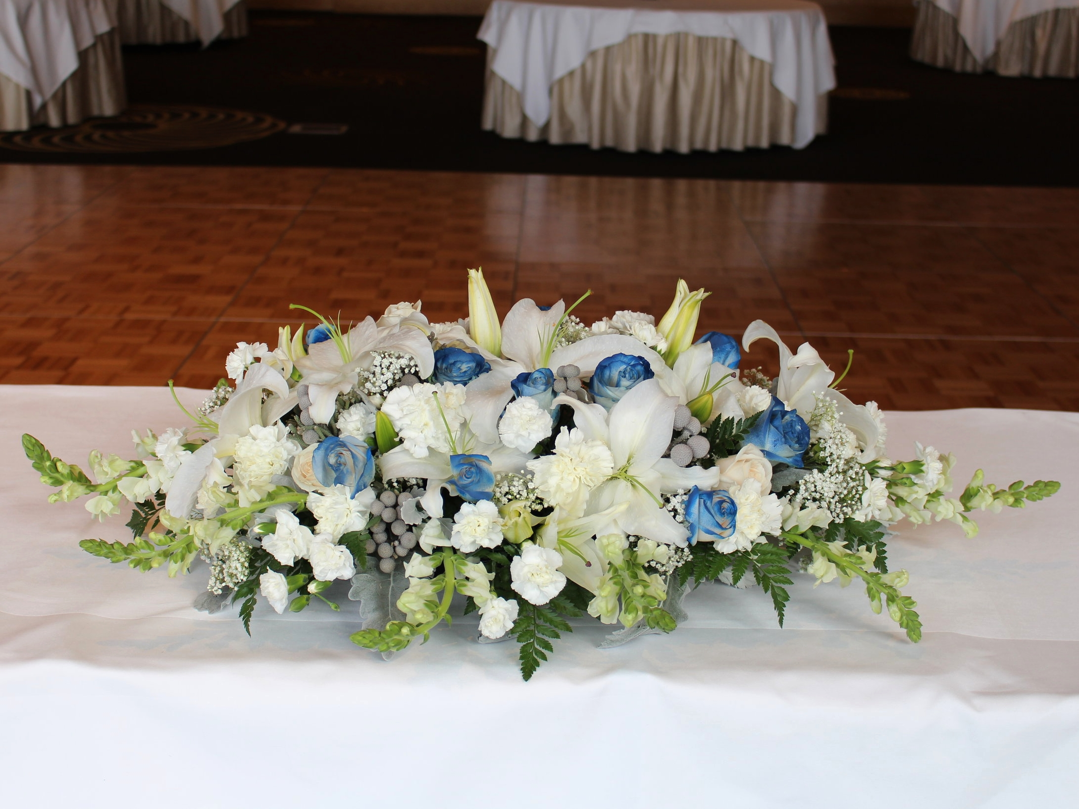 Navy Blue & Silver Sweetheart Table
