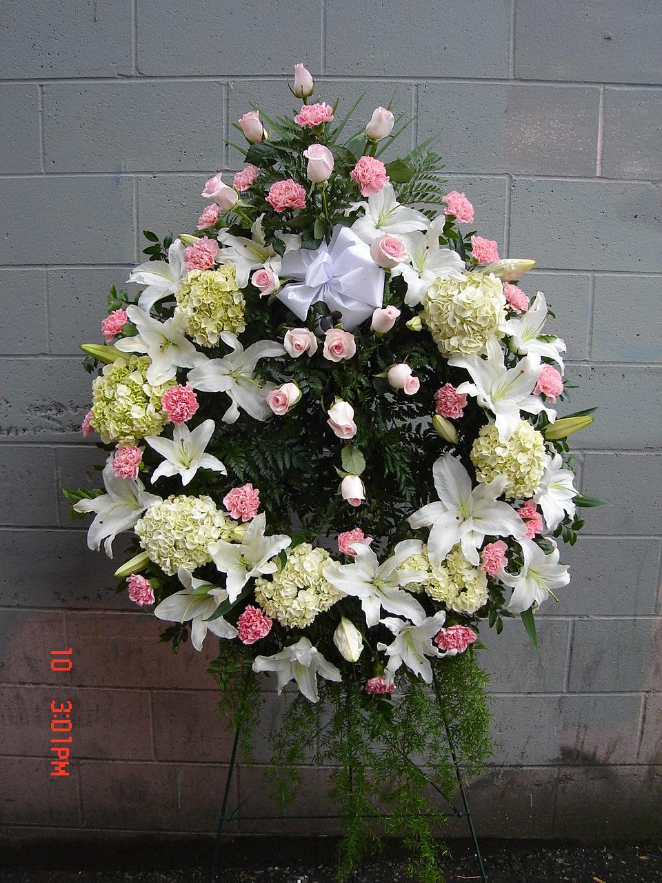 Pink & White Spray within Wreath