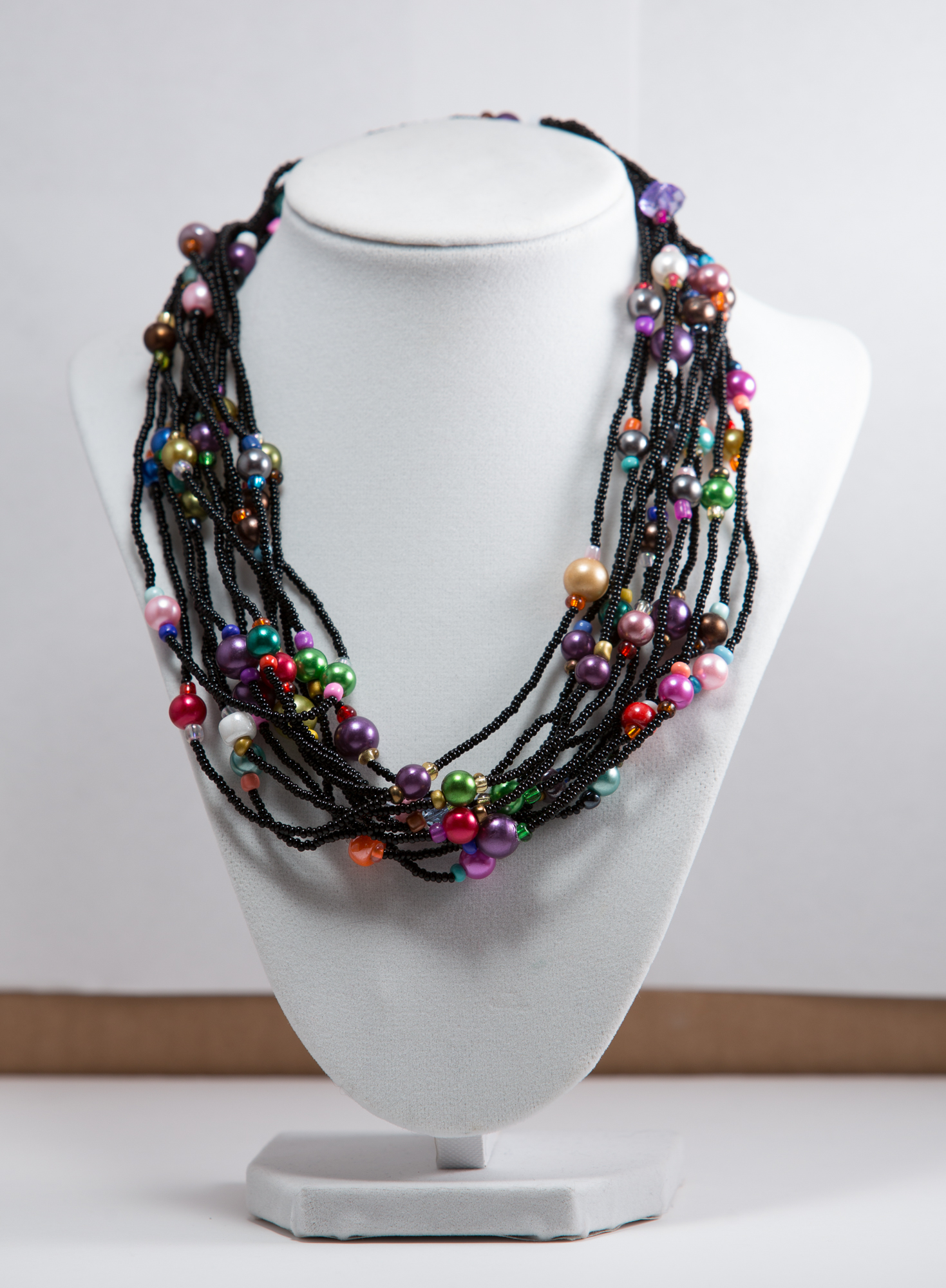 """20""""Black Necklace w/Multi-Colored beads  $25.00"""