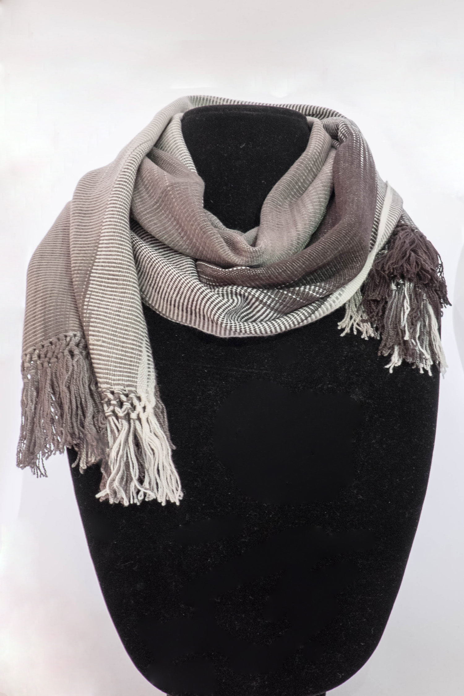 Gray/Black/White Bamboo Scarf     $39.00