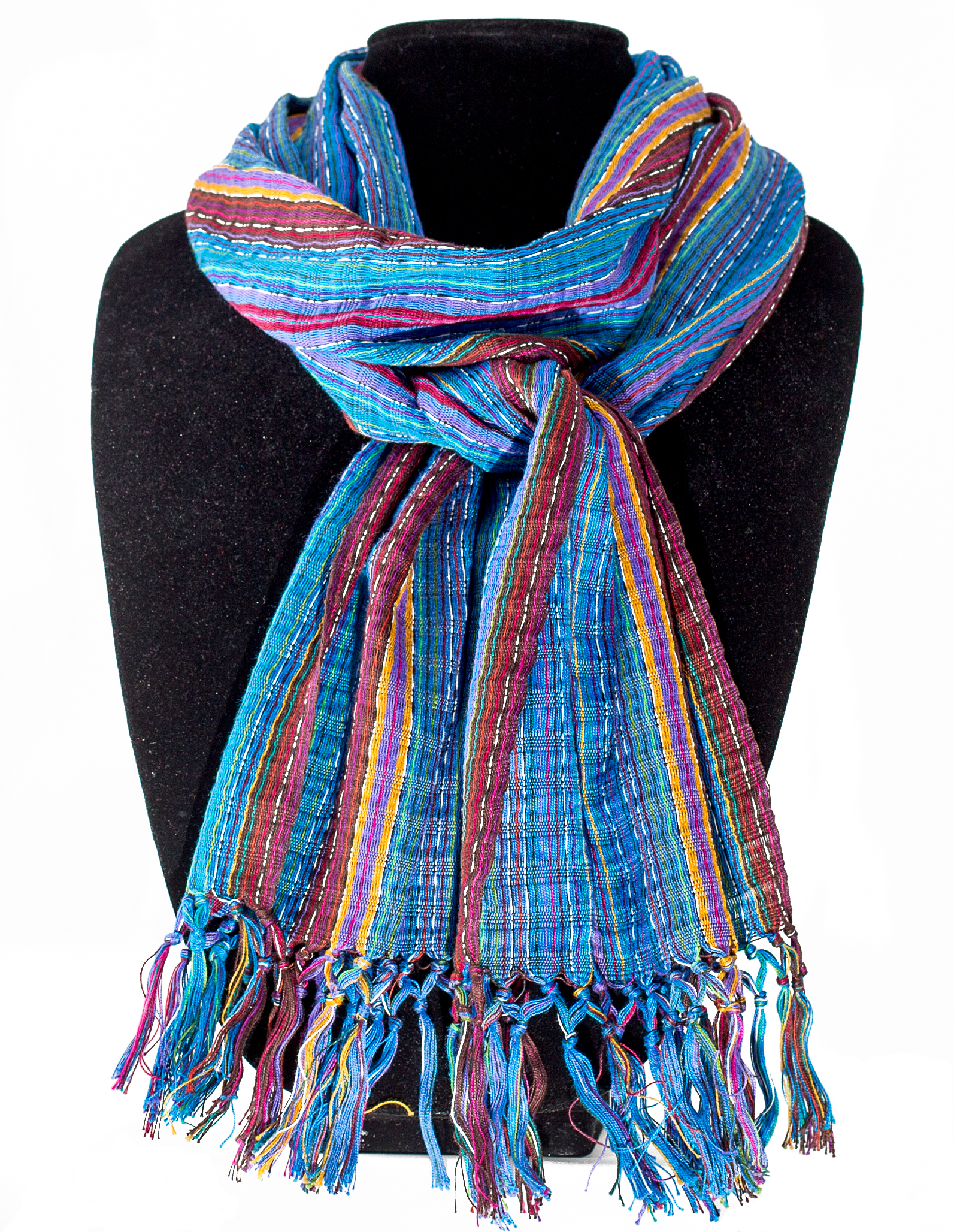 Blues and Purples cotton Scarf     $19.00