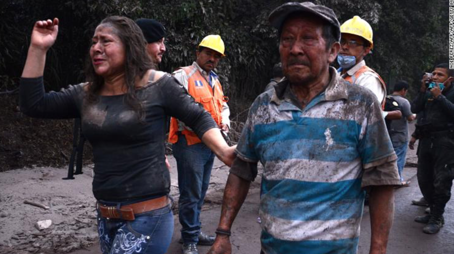 Villagers escaping from el rodeo, a village totally destroyed by Fuego.