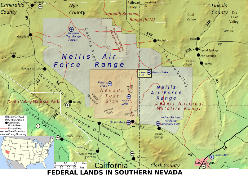 Area 51 is Highlighted in Yellow