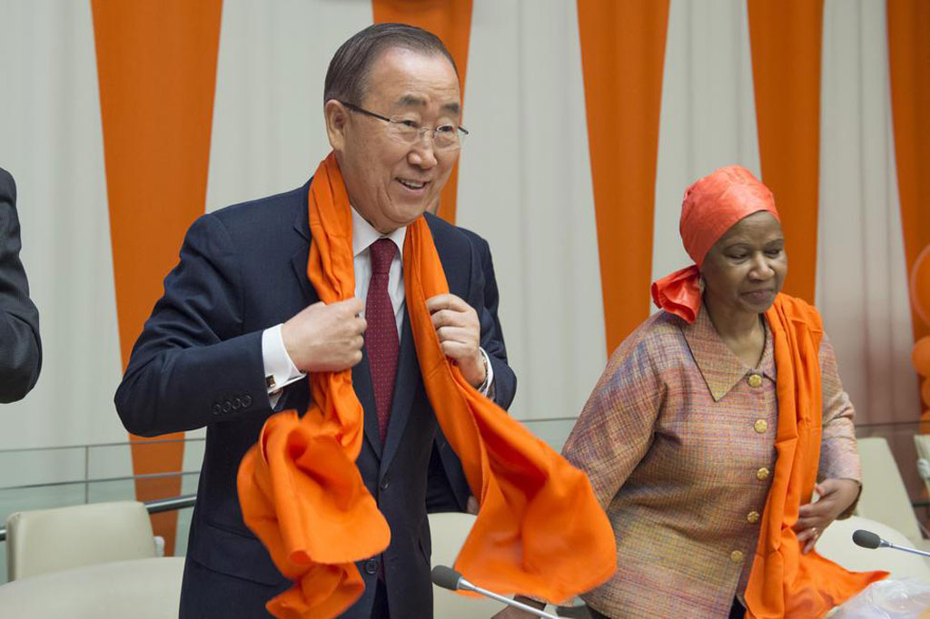 """Secretary-General Ban Ki-moon (left) and Phumzile Mlambo-Ngcuka, Executive Director of UN Women during a special event entitled """"Orange the World: Raise Money to end Violence against Women,"""" commemorating the International Day for the Elimination of Violence against Women (25 November). UN Photo/Eskinder Debebe"""