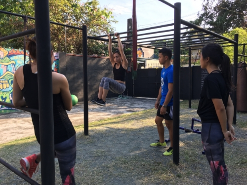 Nica teaching us the right way to do a tuck lift. No swinging allowed here!