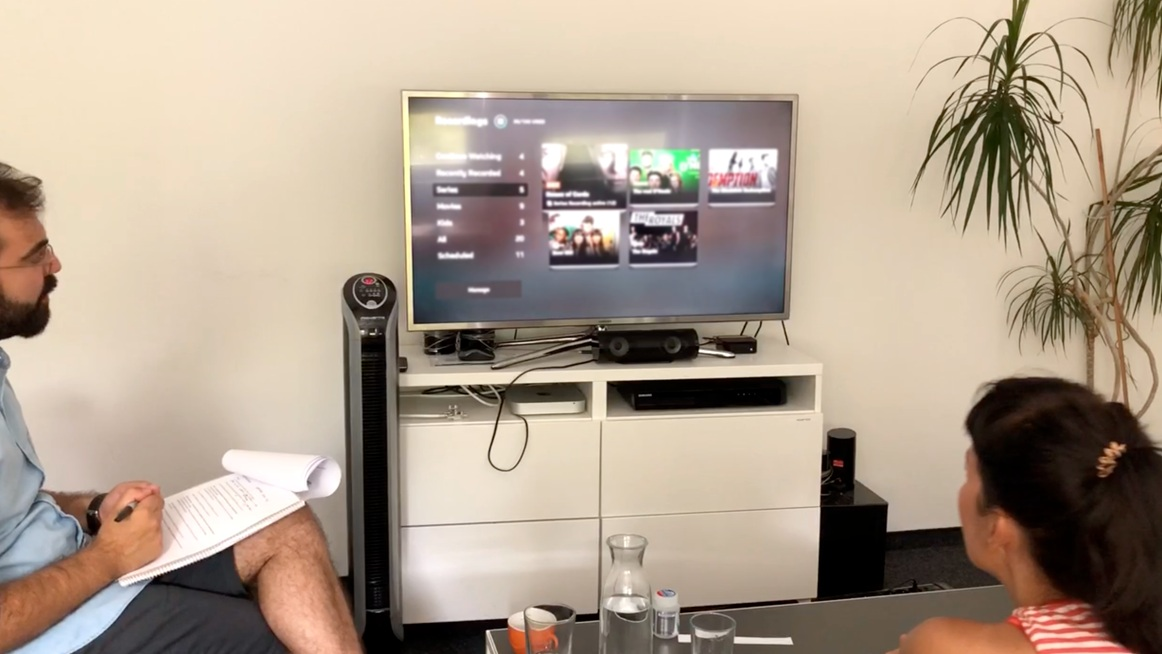 Conducting user testing with the Apple TV prototype