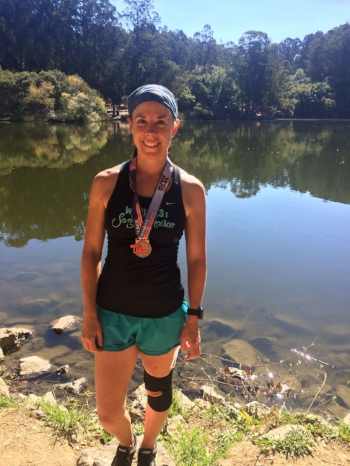 Colleen Cahill in her glory after a CA trail race.