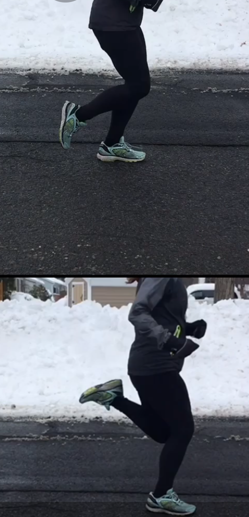 Top picture- Heel is too low, causing extra work while moving the leg forward. Bottom picture - Heel is tucked near the glutes, causing less work each stride.