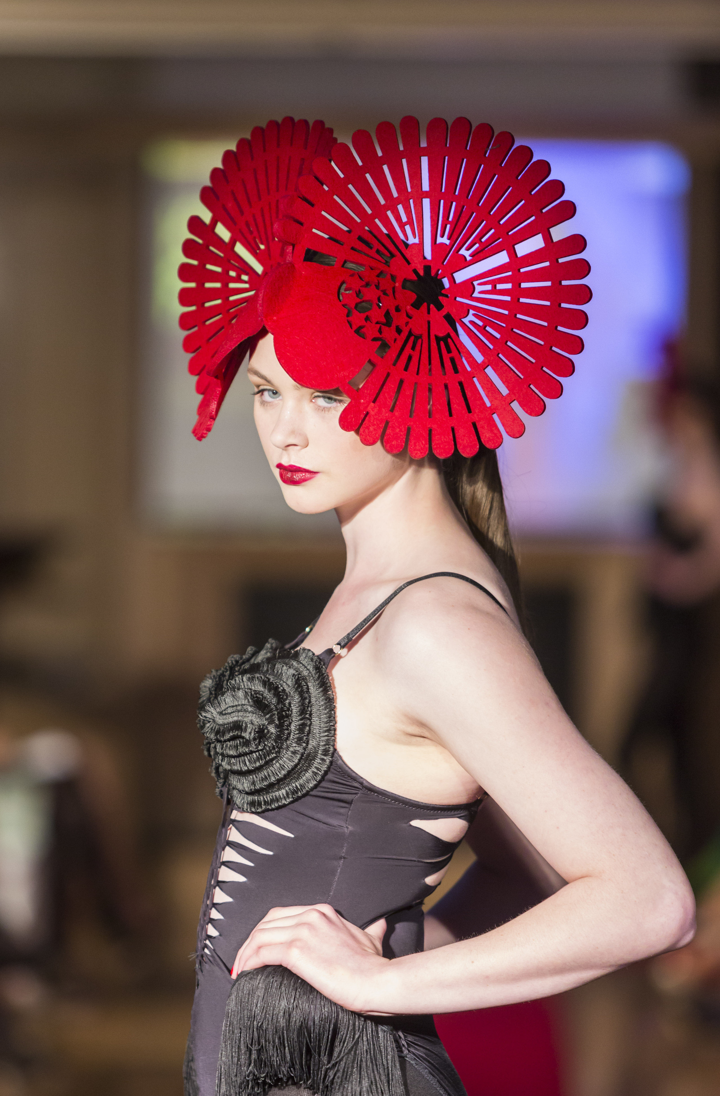 Model Aoife Healy at Upfront Model Management wearing a headpiece by Michael Leong at the KFW Show in Ballygarry House 2012. Pix: Barry Murphy
