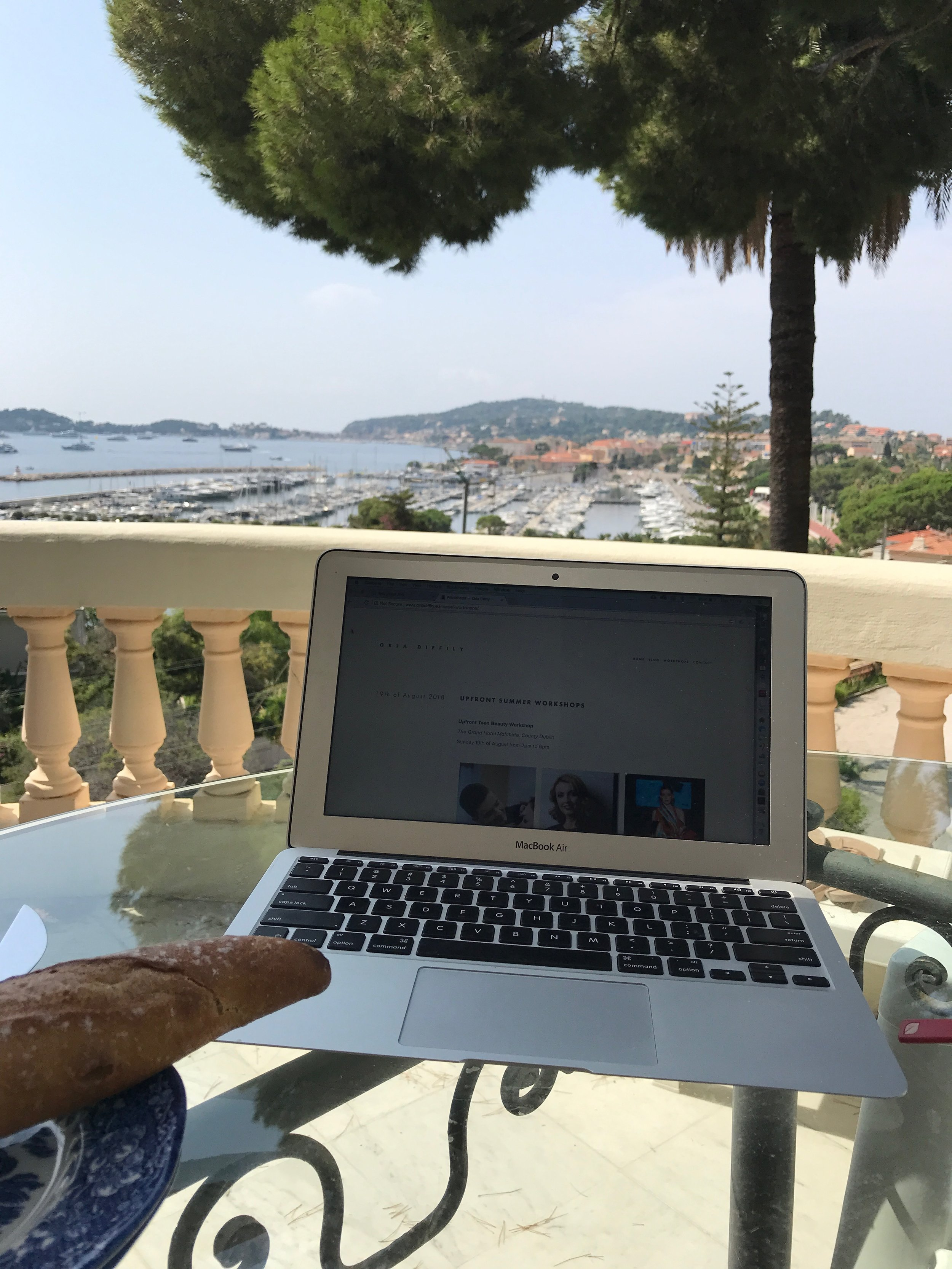 Room with a view  . . . I spent a lot of happy mornings tapping away on the Macbook overlooking Beaulieu-Sur-Mer.
