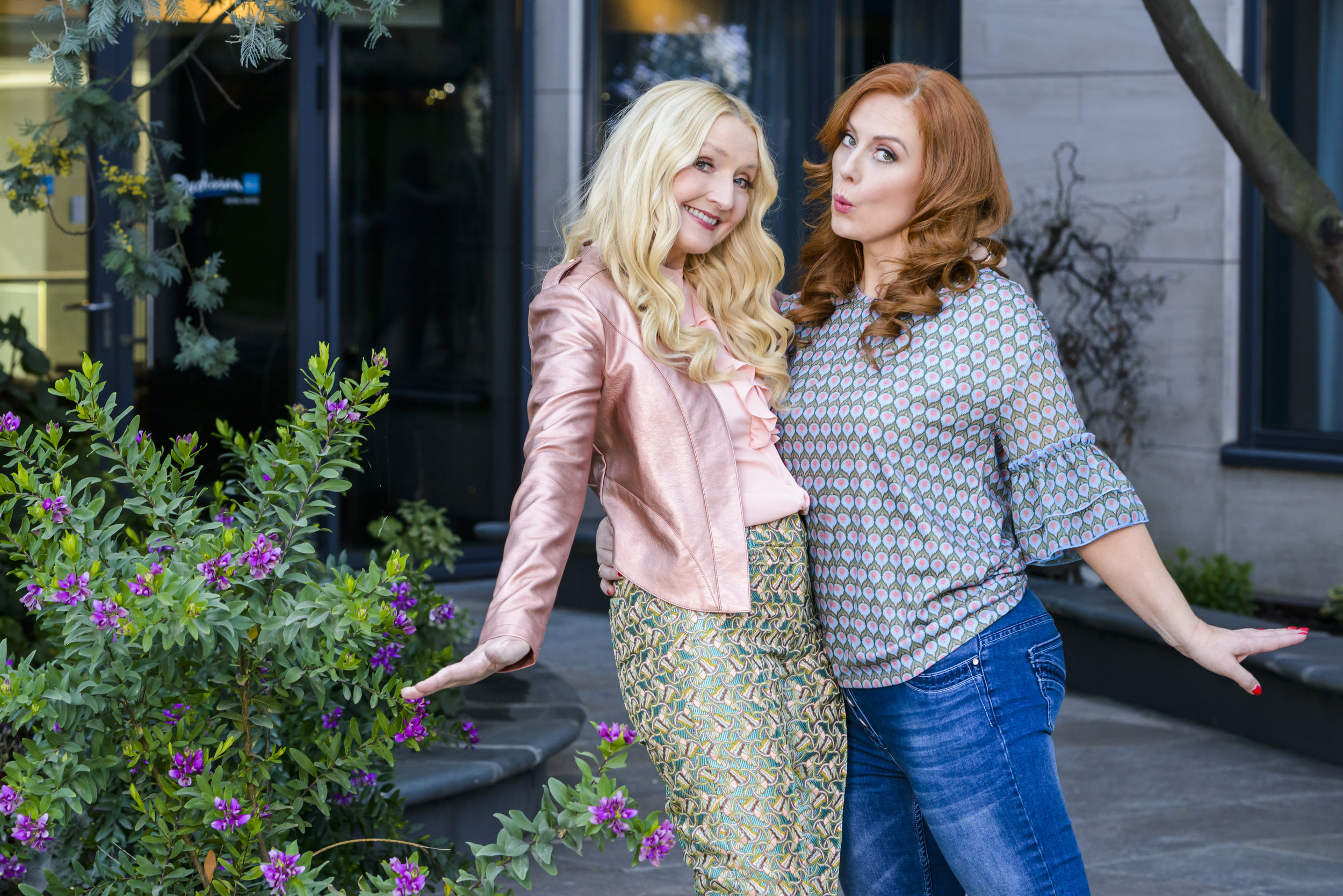 Claudia Carroll and Clelia Murphy wearing looks from Divas and Dudes Castleisland, Kerry.  Photo Credit: Pawel Nowak.