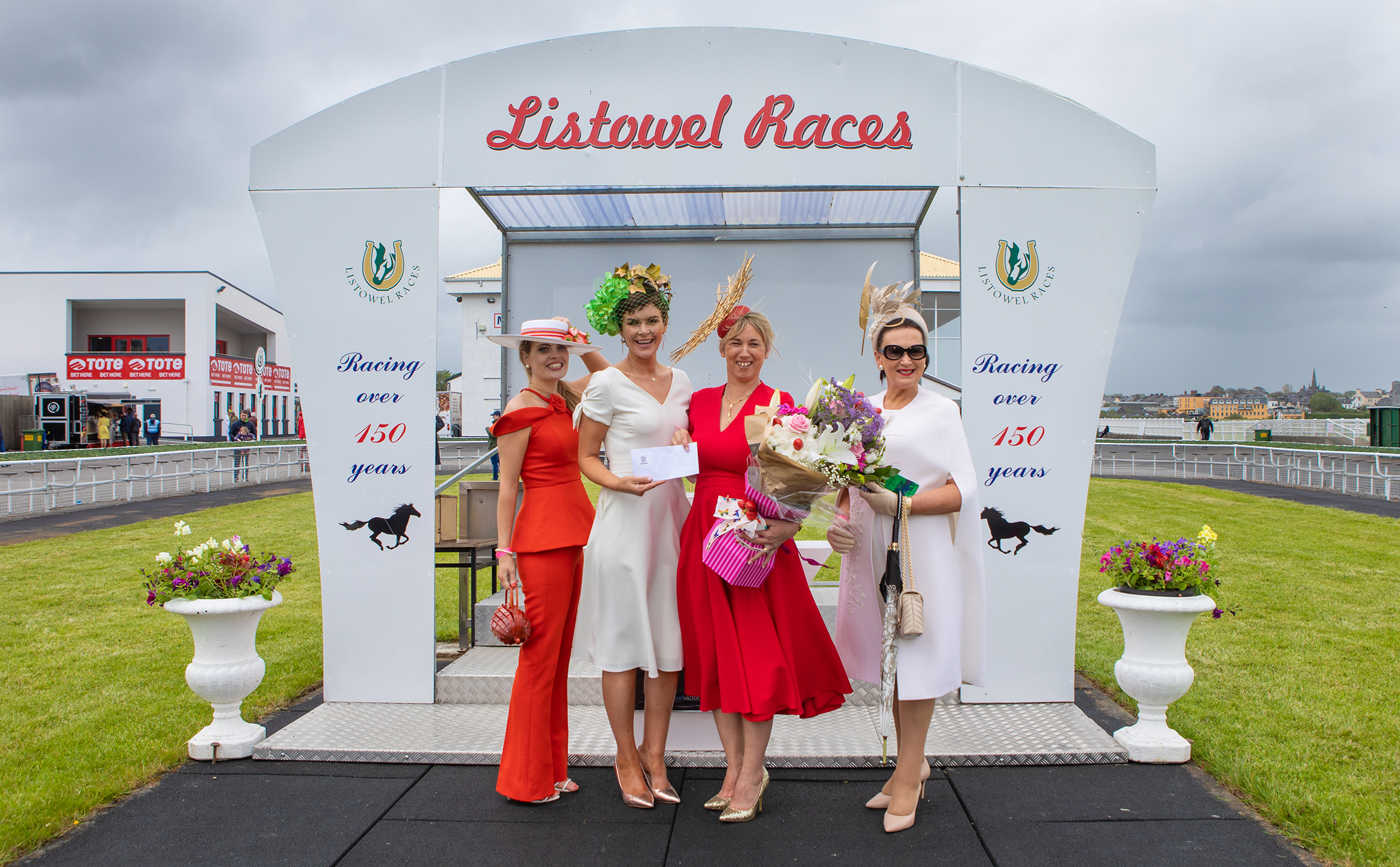 Ann-Marie Corbett, Helen Quealy Murphy, Aine Wall (overall winner) and Faith Amond at Listowel Races Ladies Day. Photo Credit: JK Photography
