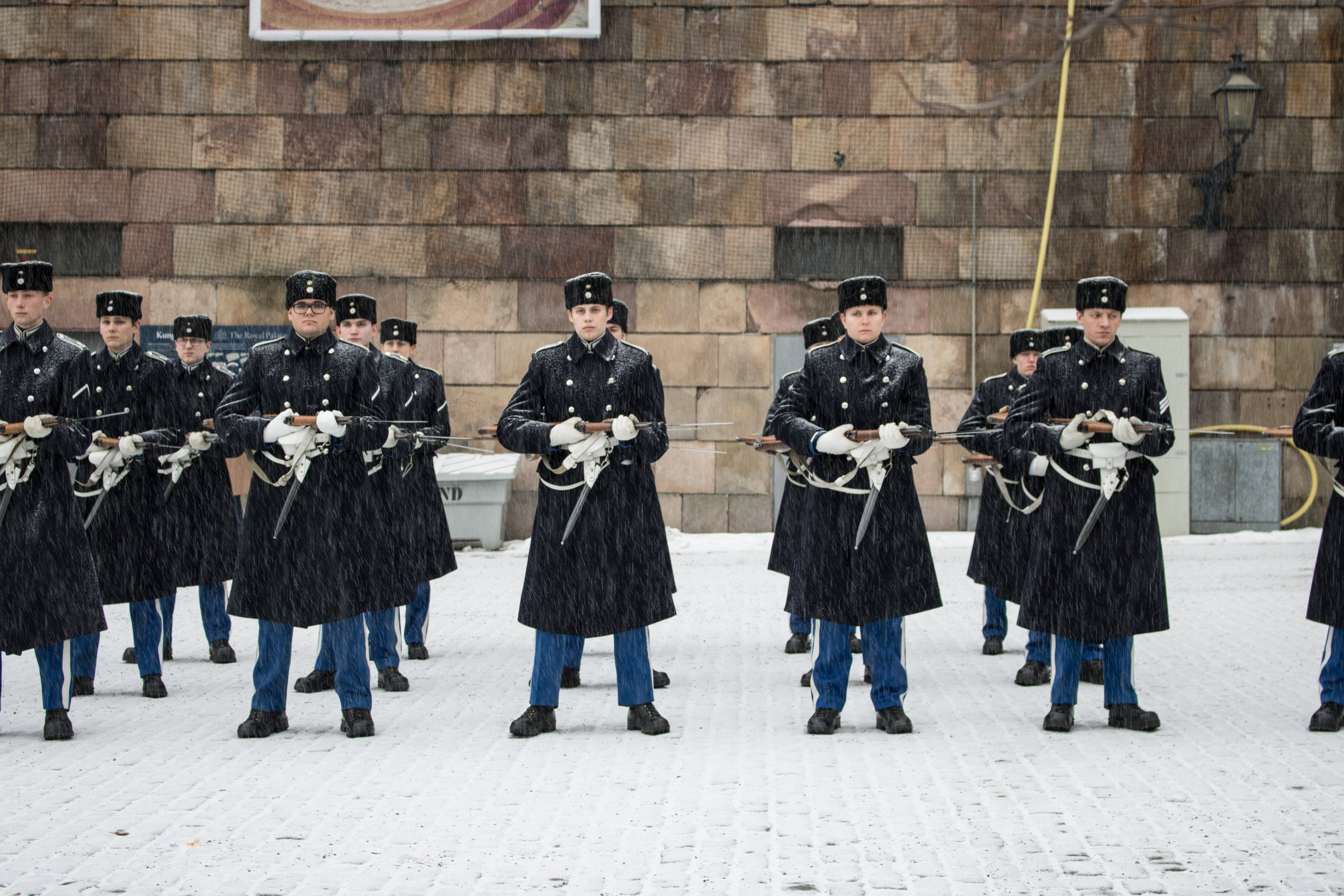 Guard change at the Royal palace with light snow flurries.