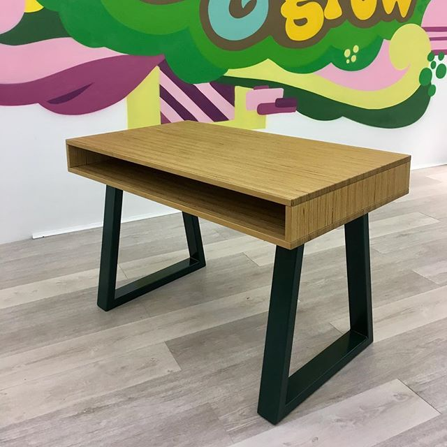 Office fit out for @thehempcompanydublin... set of bespoke desks and a whopper conference table designed and built by jenko... solid beech tops and moss green steel trapezium legs.  #jenkodesign #irishdesign #officefitout #handcrafted #furniture #dublin #designer #maker #builttolast #getupandgrow #dontpanicitsorganic
