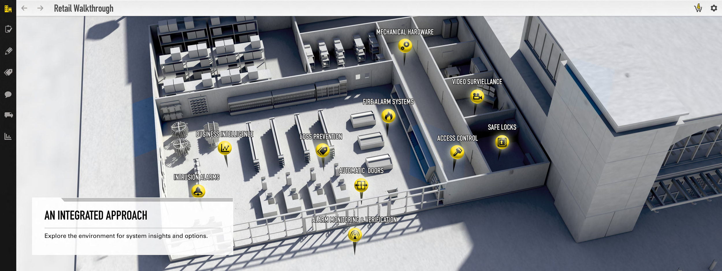 Concept render of Retail floor plan and pins.