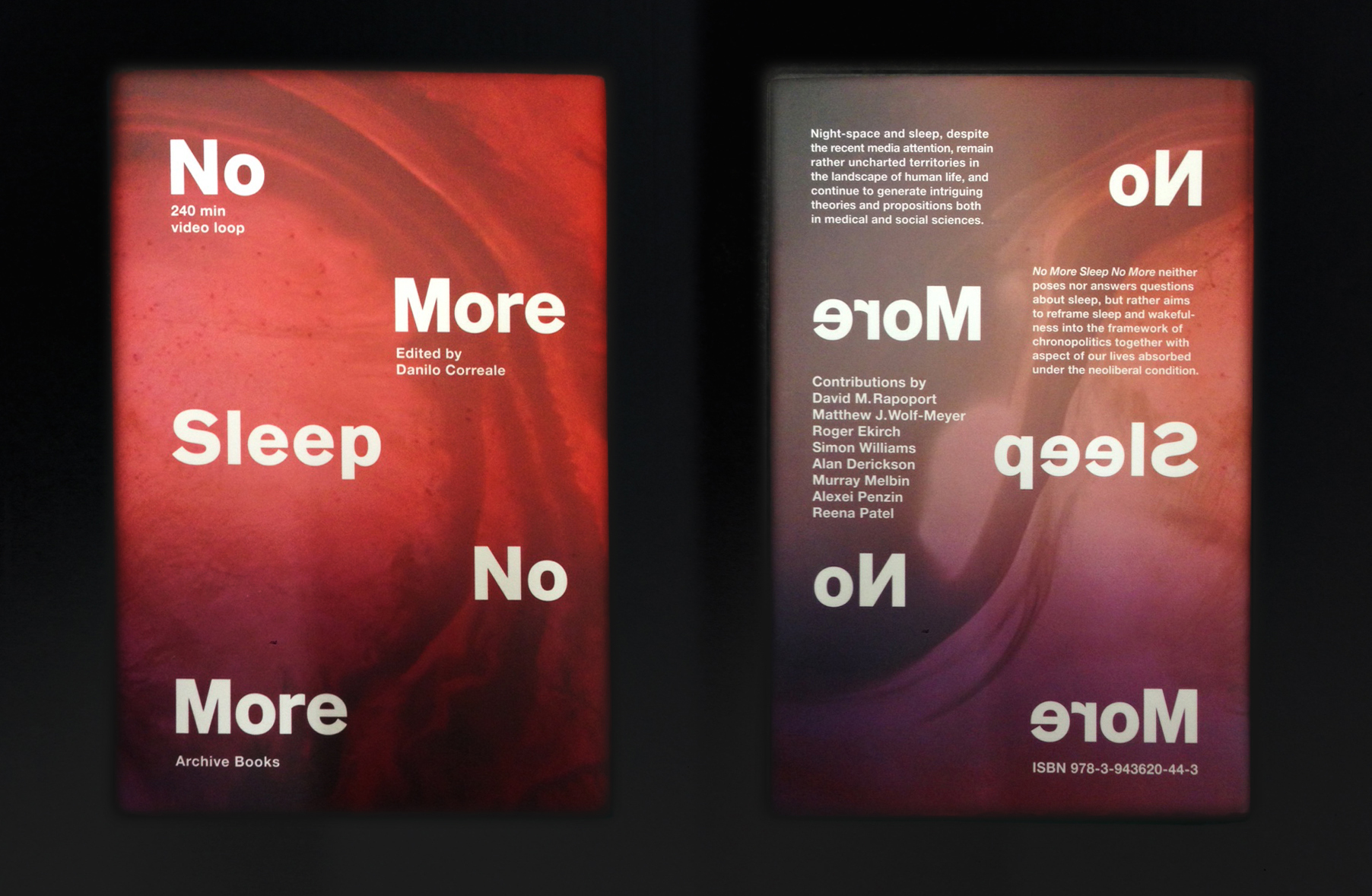 No More Sleep No More,   With contribution from, David M. Rapoport, Matthew J. Wolf-Meyer, Roger Ekirch,Simon Williams, Alan Derickson,Murray Melbin, Alexei Penzin,Reena Patel  Graphic design by  Archive Appendix  English, Hardcover,  15.5×23 cm,128 pages,colours  Archive Books 2016   ISBN 978-3-943620-44-3