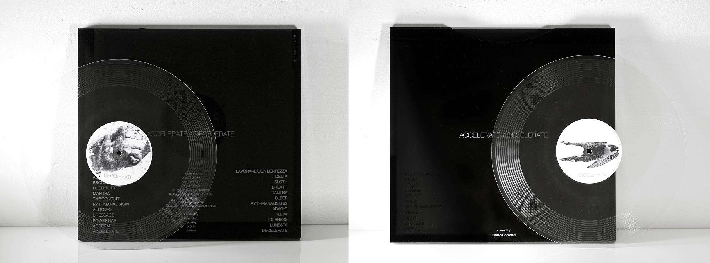 "Accelerate / Decelerate,  12"" record 24 Locked grooves, Edition of 1+1AP, 2015  Featuring, James Beckett,John Dombrowski, Jake Borndall & Shawn Taylor, Irvin Morazan, Claudio Slpwalker, Jonatah Manno."