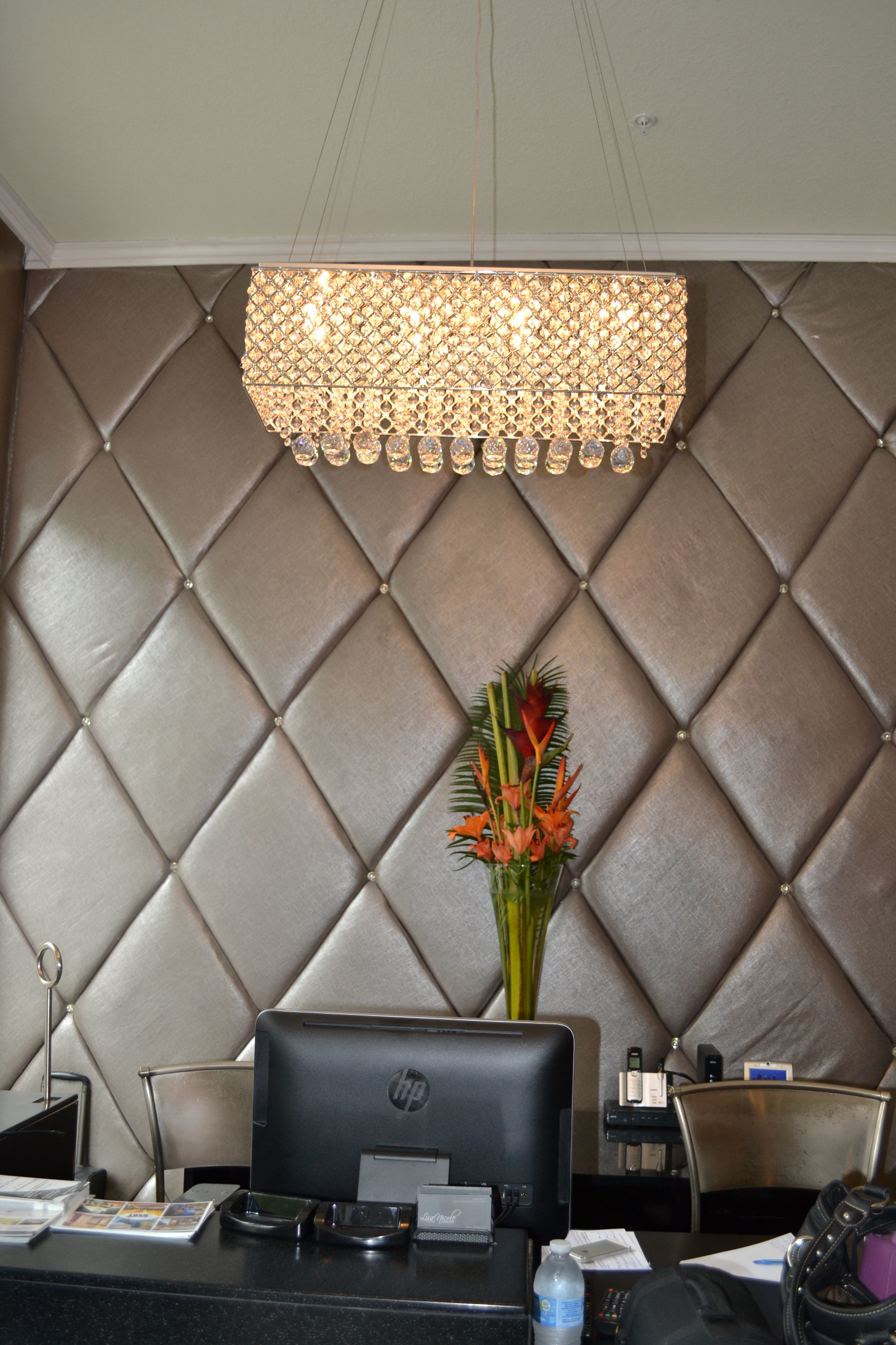 Custom diamond tufted wall treatment with Swarokvski crystals