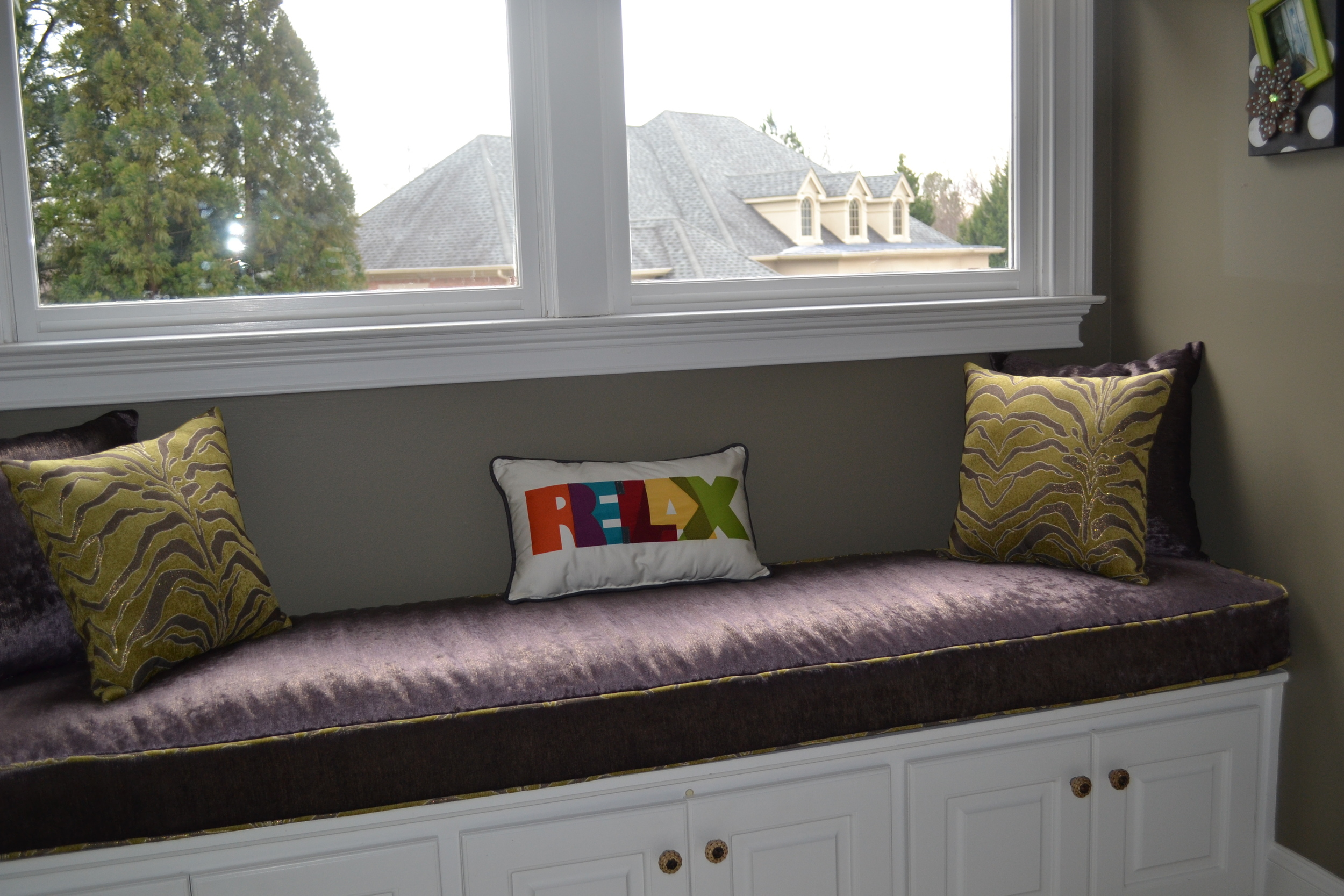 Custom cushion made for window seat.
