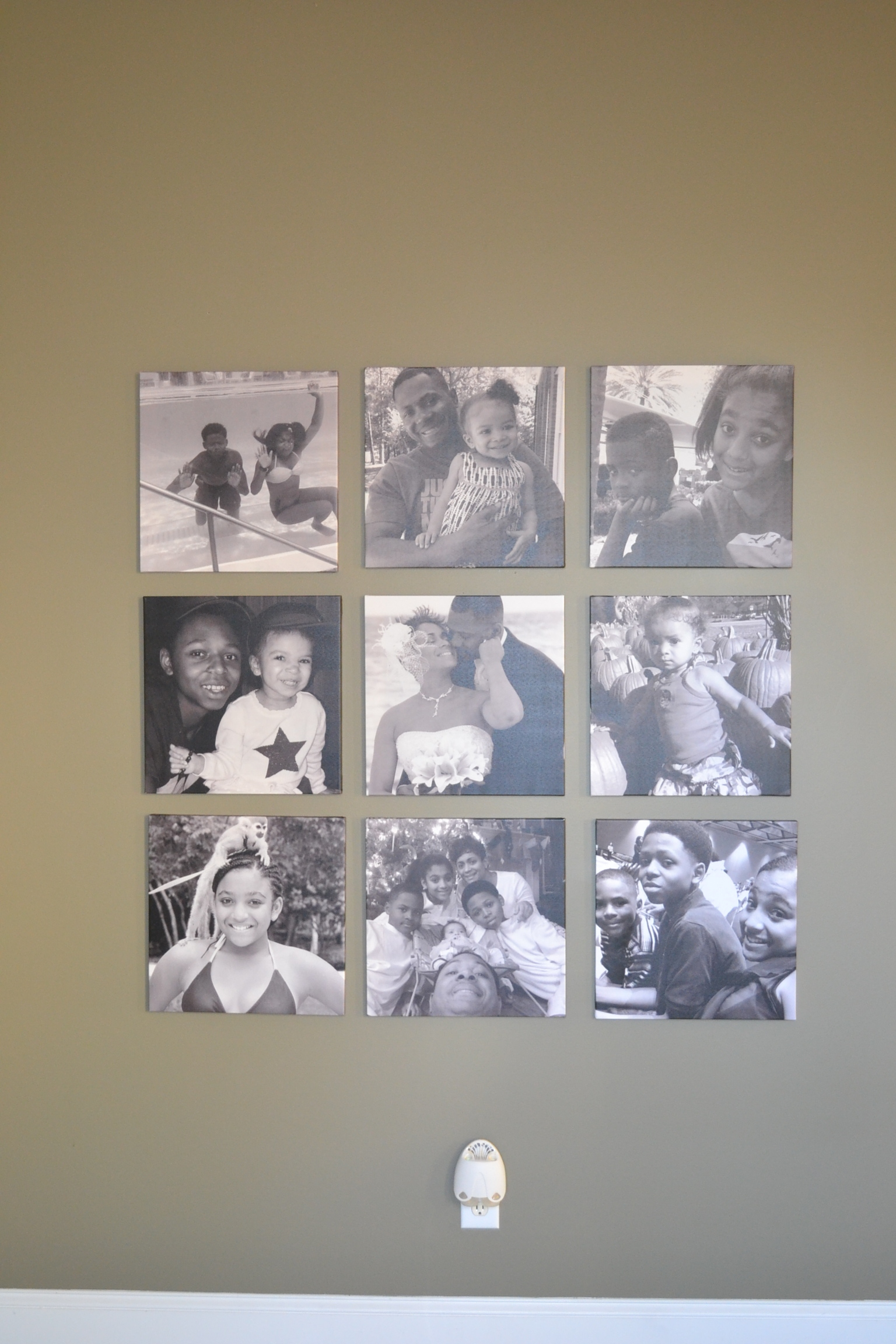 Family collage beautifally display in black and white canvas prints.