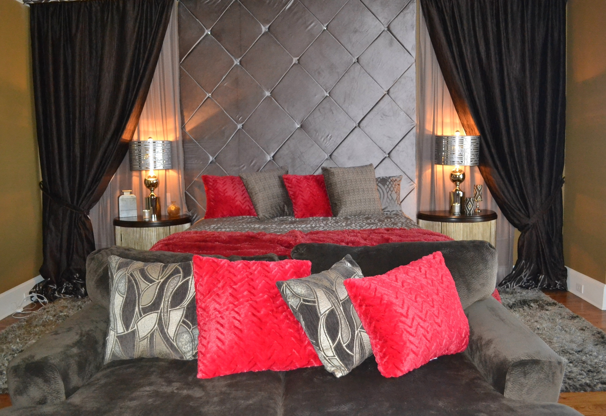 chocolate and silver, with a splash or red makes a cozy romantic bedroom