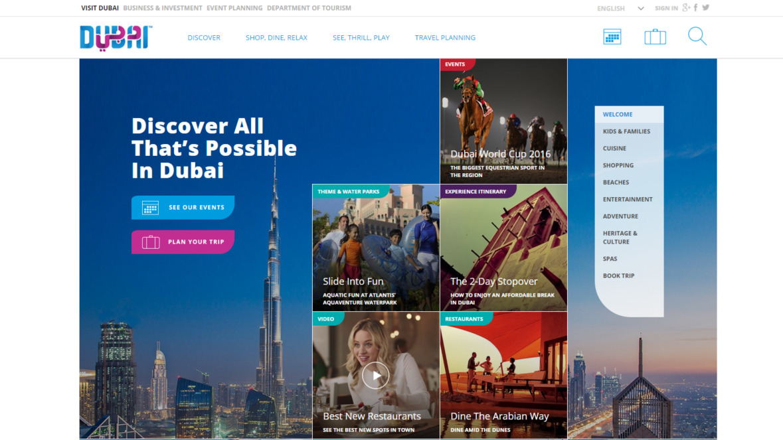 Visitdubai.com home page